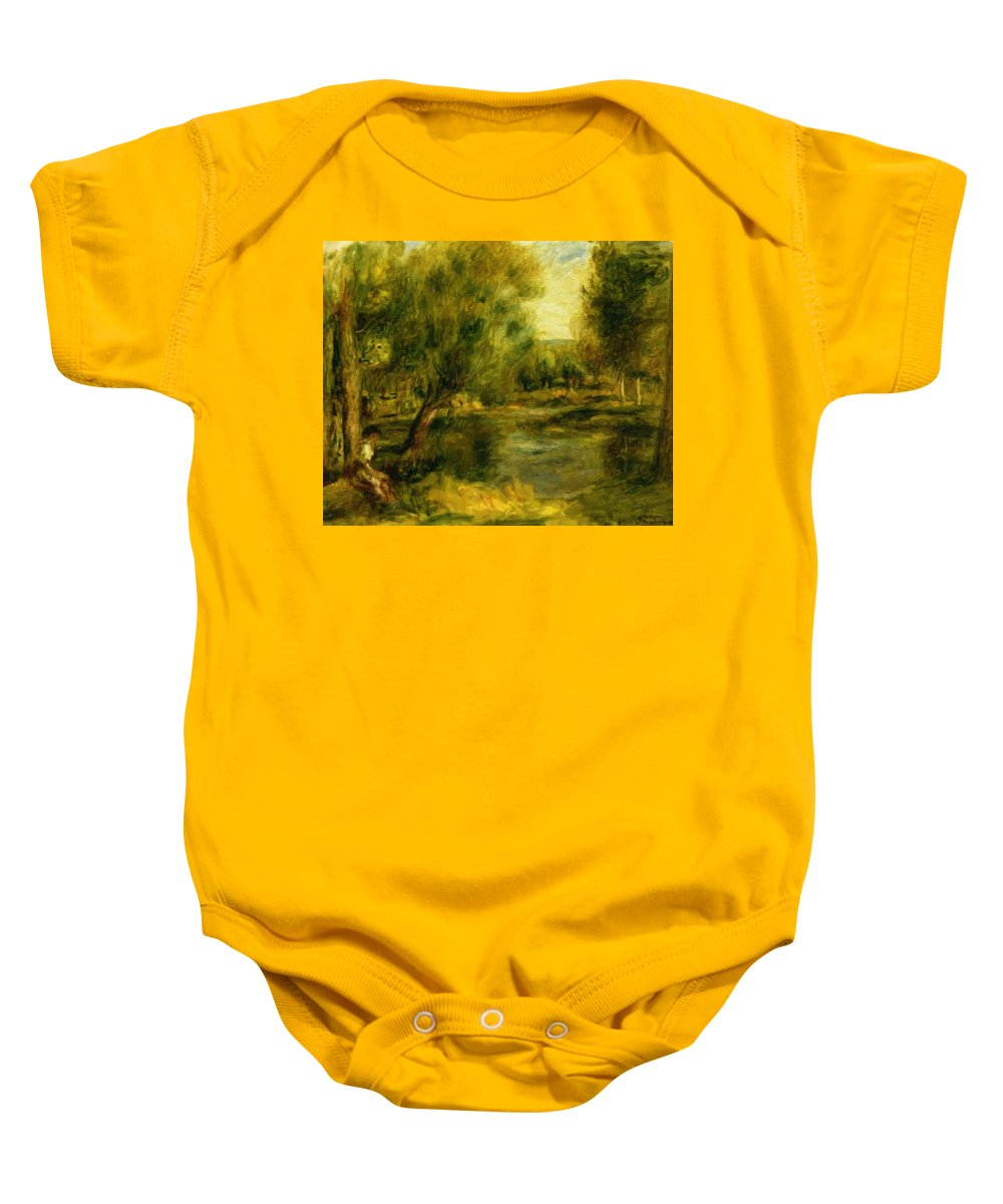 Banks Baby Onesie featuring the painting Banks Of The River by Renoir PierreAuguste