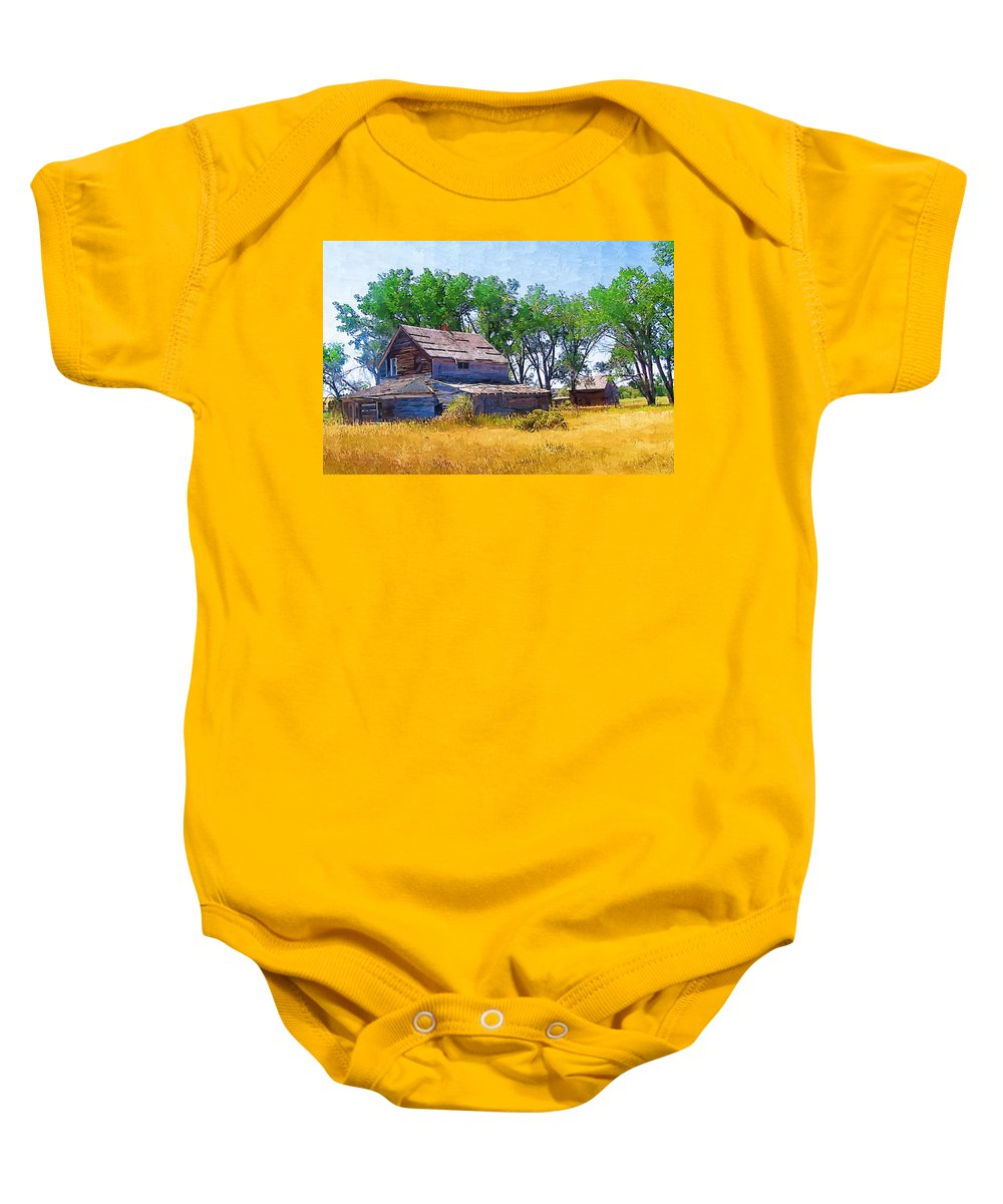 Barber Montana Baby Onesie featuring the photograph Barber Homestead by Susan Kinney