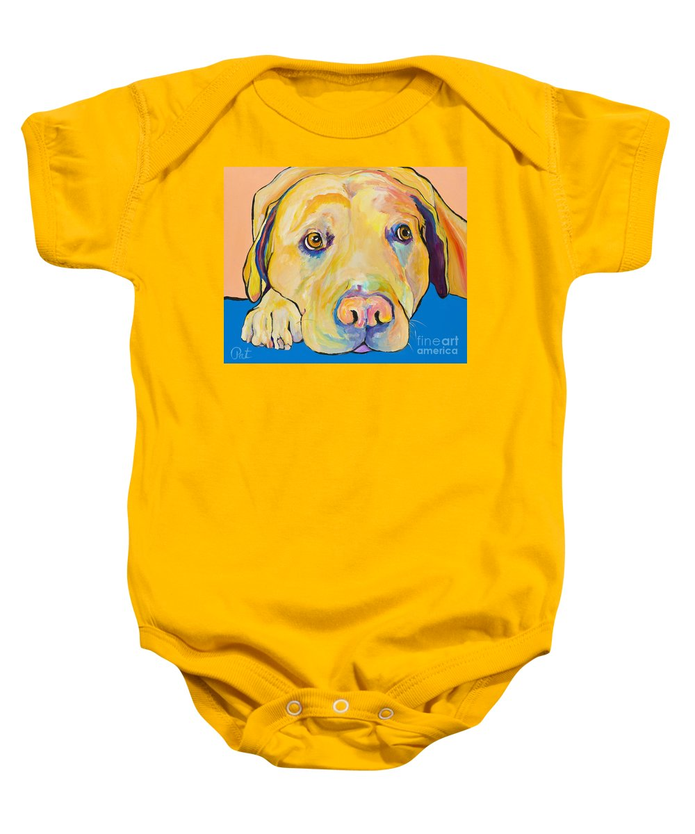 Dog Paintings Yellow Lab Puppy Colorful Animals Pets Baby Onesie featuring the painting Bath Time by Pat Saunders-White