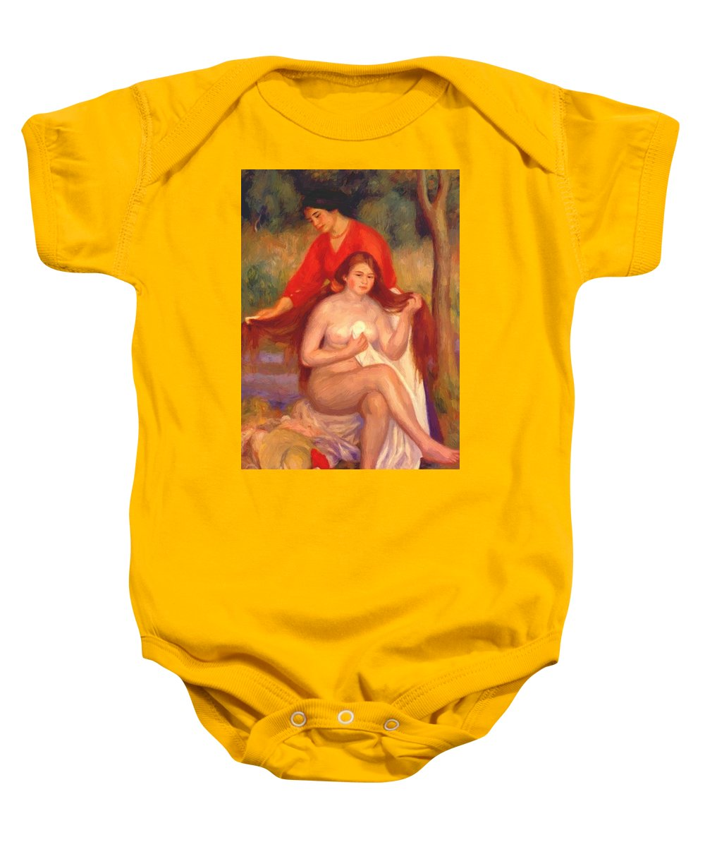 Bather Baby Onesie featuring the painting Bather And Maid The Toilet by Renoir PierreAuguste