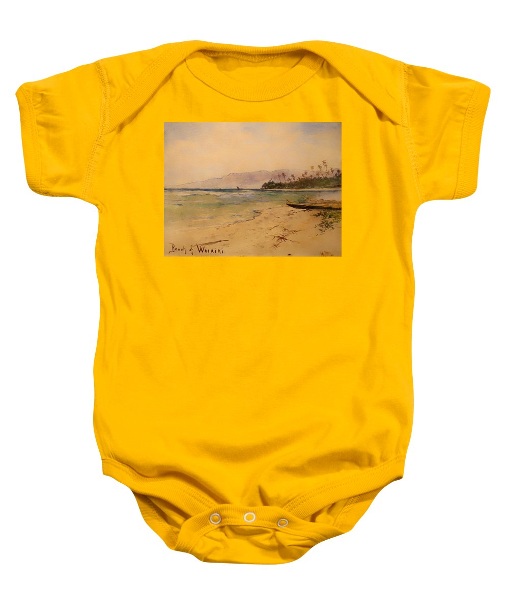 Painting Baby Onesie featuring the painting Beach Of Waikiki by Mountain Dreams