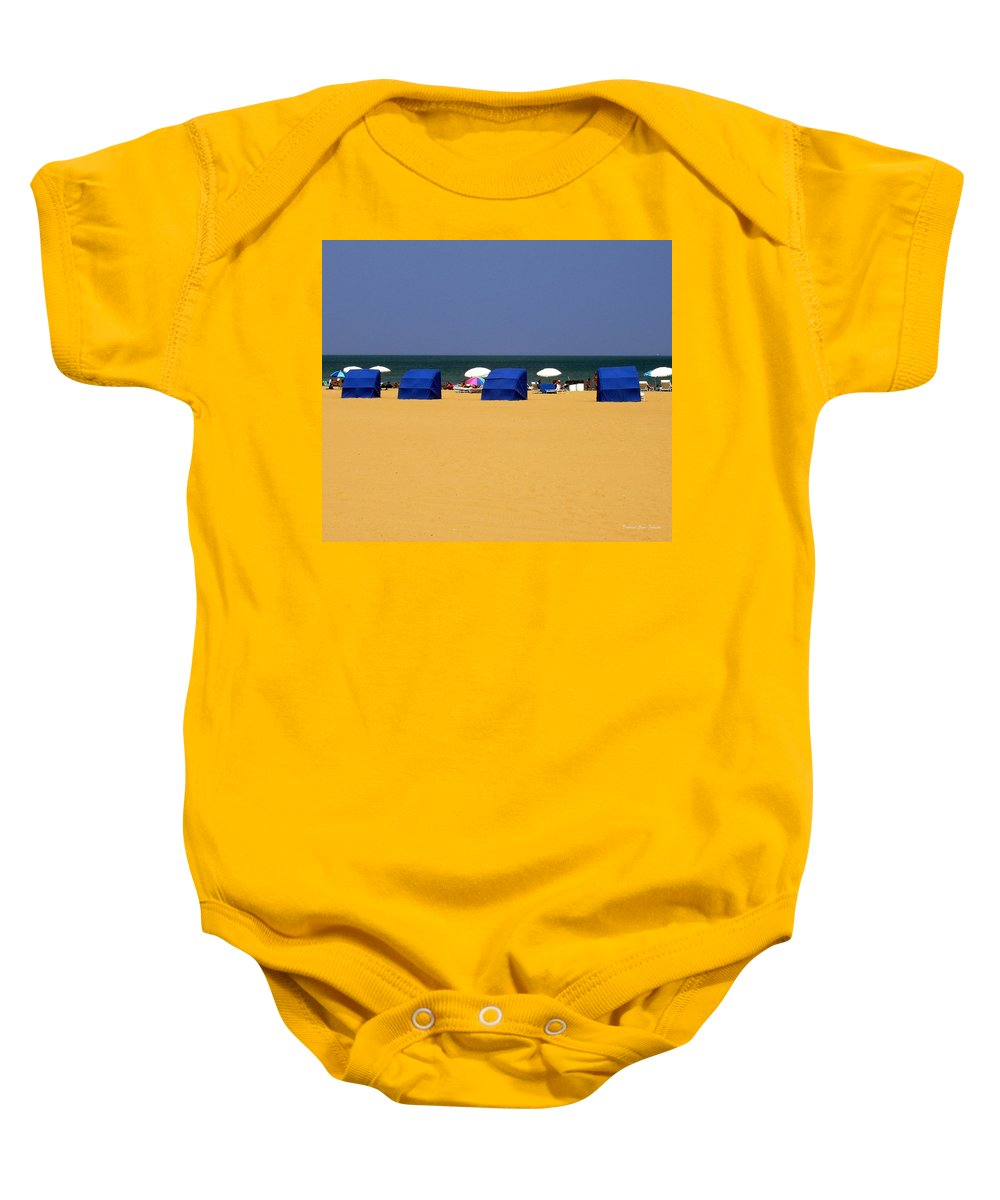 Beach Baby Onesie featuring the photograph Beach Tents by Deborah Crew-Johnson