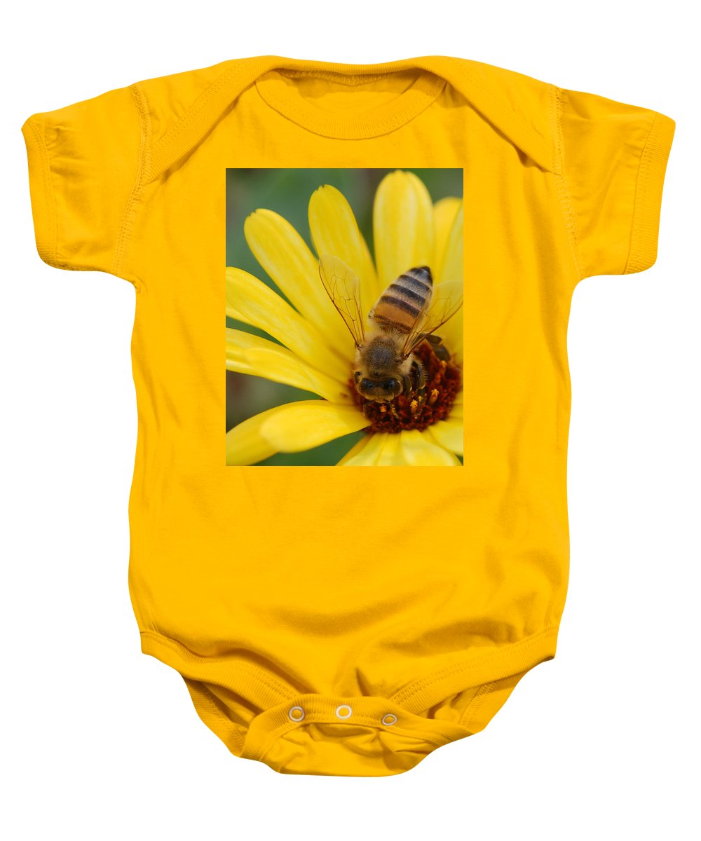 Bee Baby Onesie featuring the photograph Bee On Flower by Amy Fose