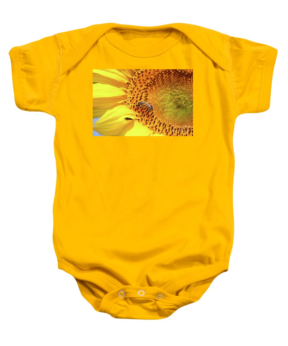 Sunflower Baby Onesie featuring the photograph Bee On Sunflower Summer Nature Scene by Goce Risteski