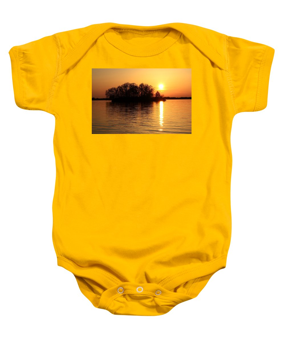 Trees Baby Onesie featuring the photograph Behind The Island by Mandy Frank