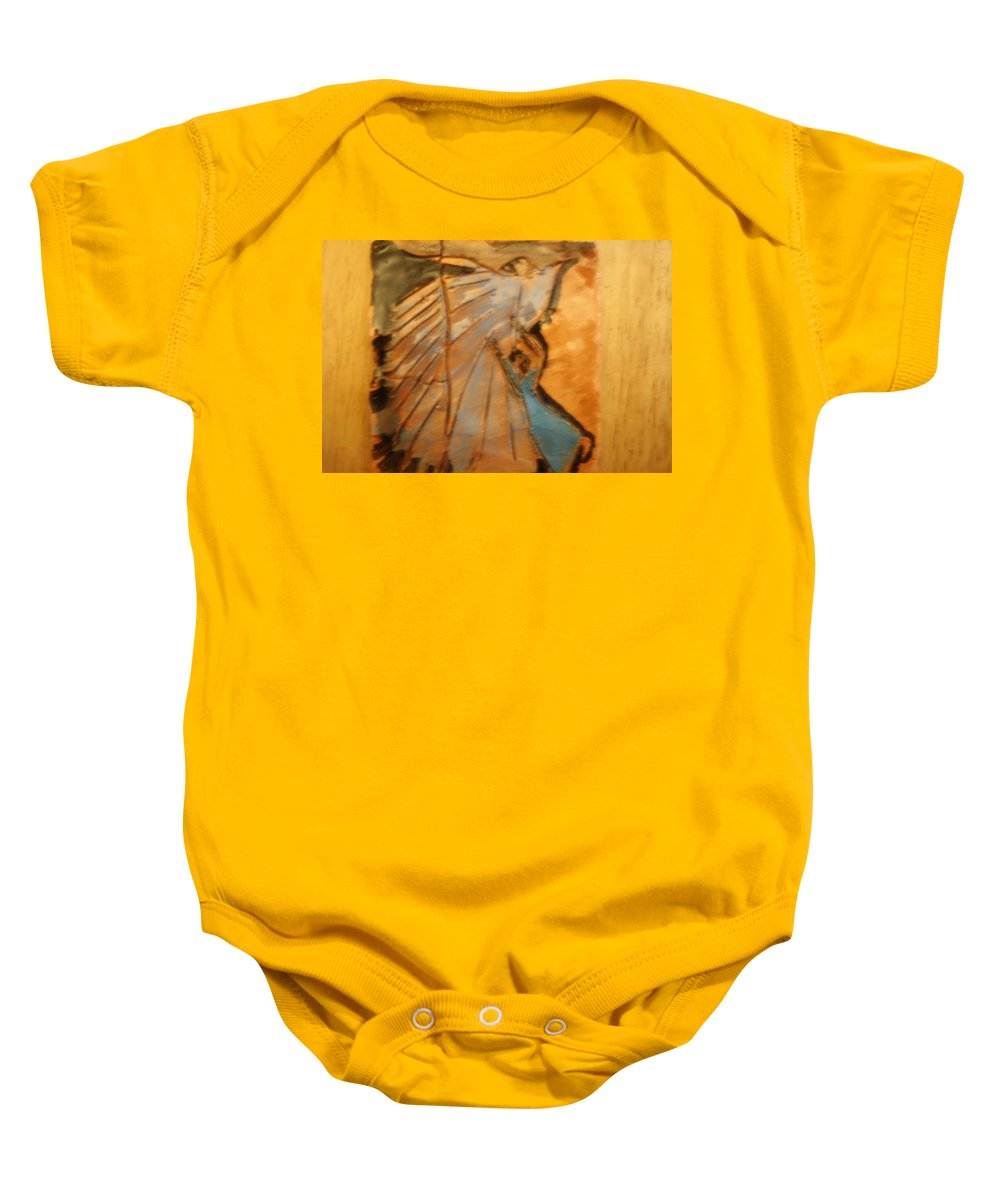 Jesus Baby Onesie featuring the ceramic art Behold - Tile by Gloria Ssali