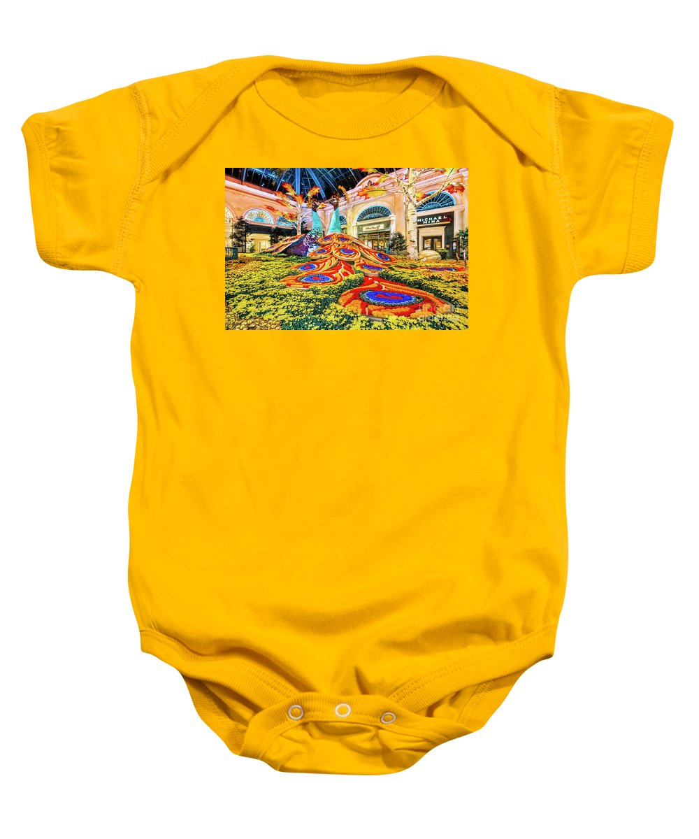 Bellagio Conservatory Baby Onesie featuring the photograph Bellagio Conservatory Fall Peacock Display Side View Wide 2017 by Aloha Art