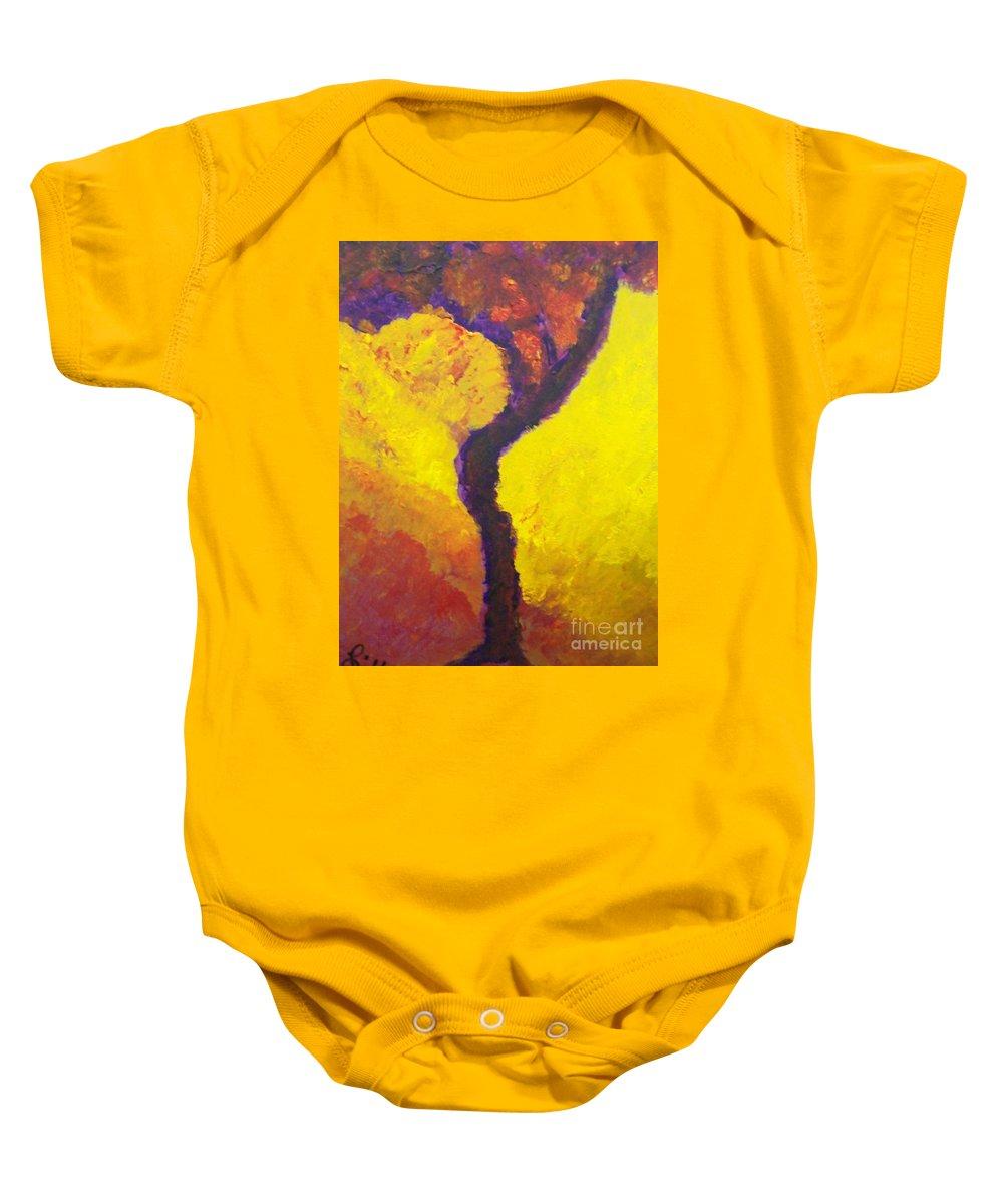 Bendy Tree Baby Onesie featuring the painting Bendy Tree by Laurette Escobar