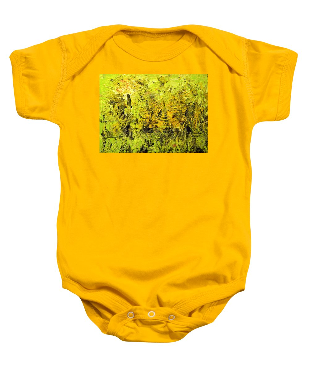 Nature Baby Onesie featuring the painting Beneath The Trees by Wayne Potrafka