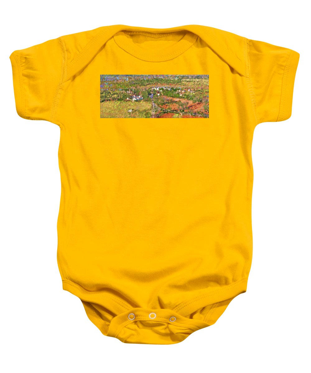 Ranch Baby Onesie featuring the painting Bird Over Santa Rosa, Nbr 1k by Will Barger