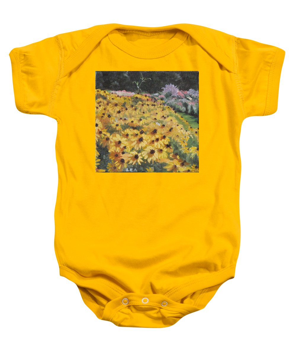 Floral Baby Onesie featuring the painting Black-eyed Susans by Lea Novak