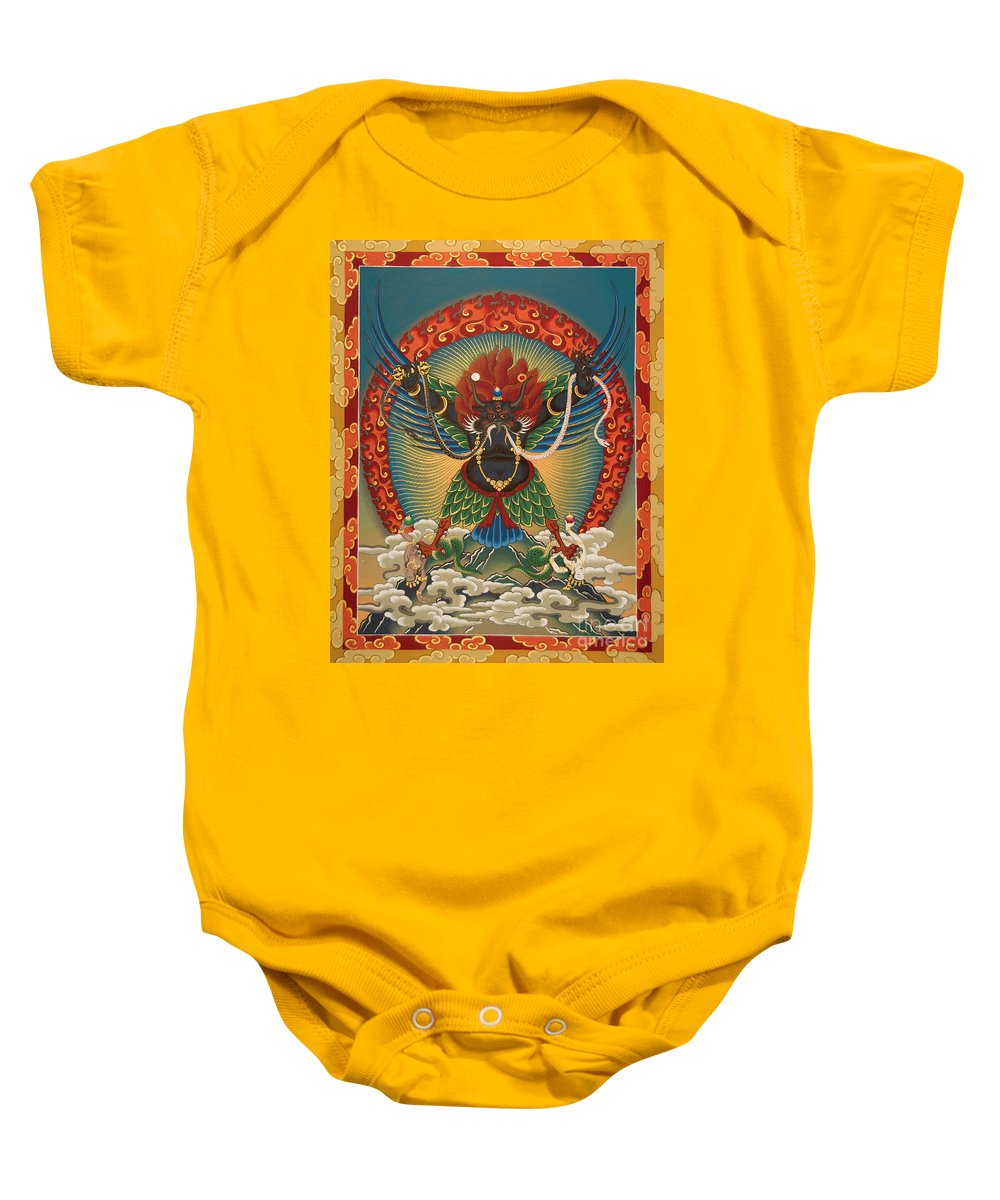 Tsasum Baby Onesie featuring the painting Black Garuda - Tsasum Tersar by Sergey Noskov