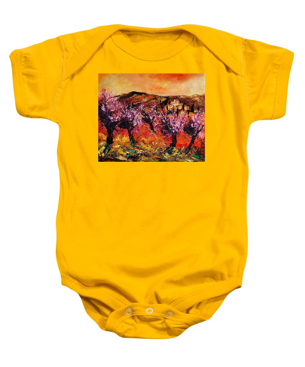 Provence Cherrytree Summer Spring Baby Onesie featuring the painting Blooming Cherry Trees by Pol Ledent