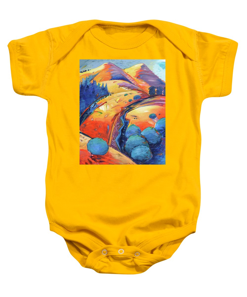 Hills Baby Onesie featuring the painting Blue And Gold by Gary Coleman