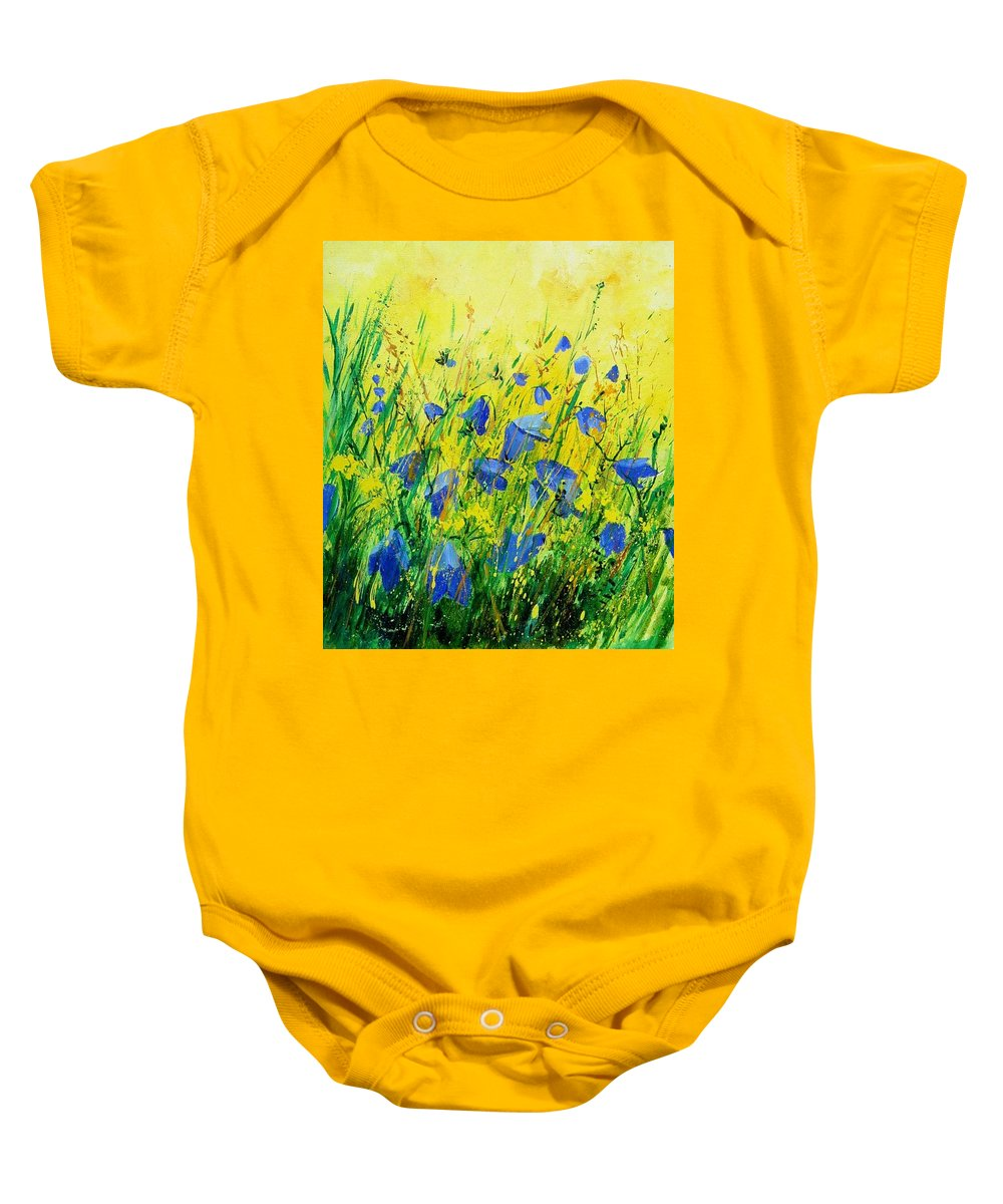 Poppies Baby Onesie featuring the painting Blue Bells by Pol Ledent