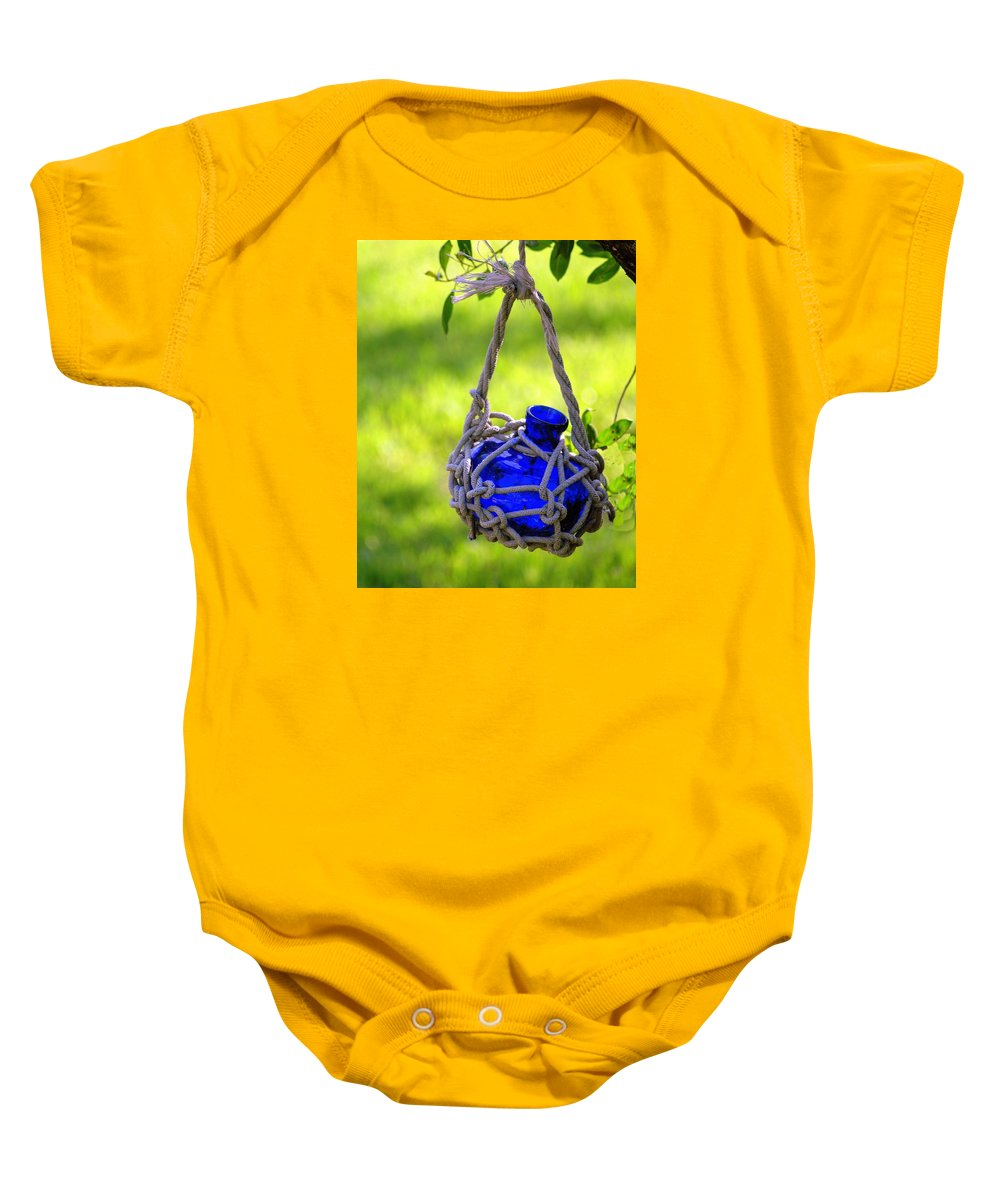 Glass Bottles Baby Onesie featuring the photograph Small Blue Bottle Garden Art by Ginger Wakem