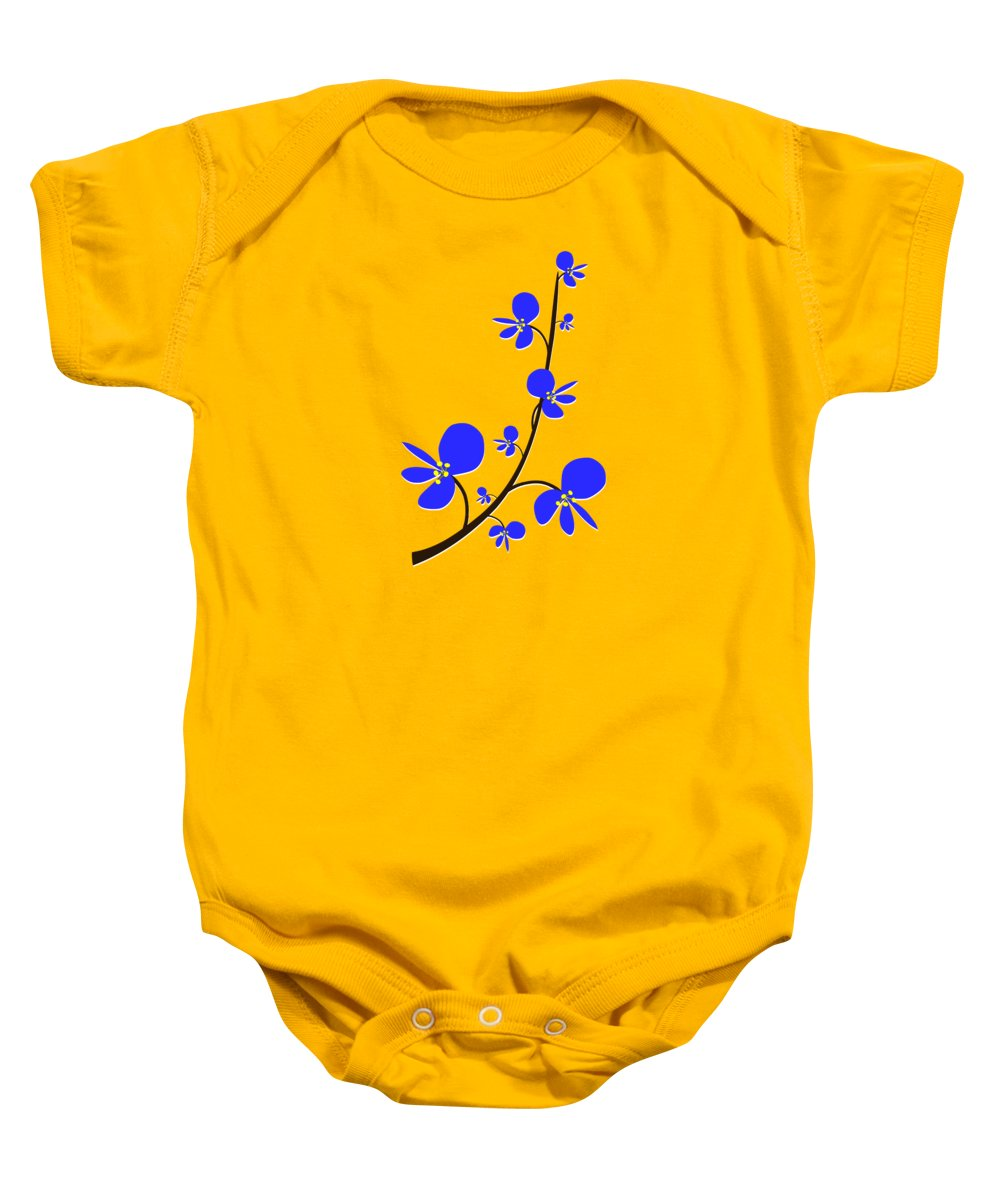 Nature Baby Onesie featuring the digital art Blue Flowers by Anastasiya Malakhova