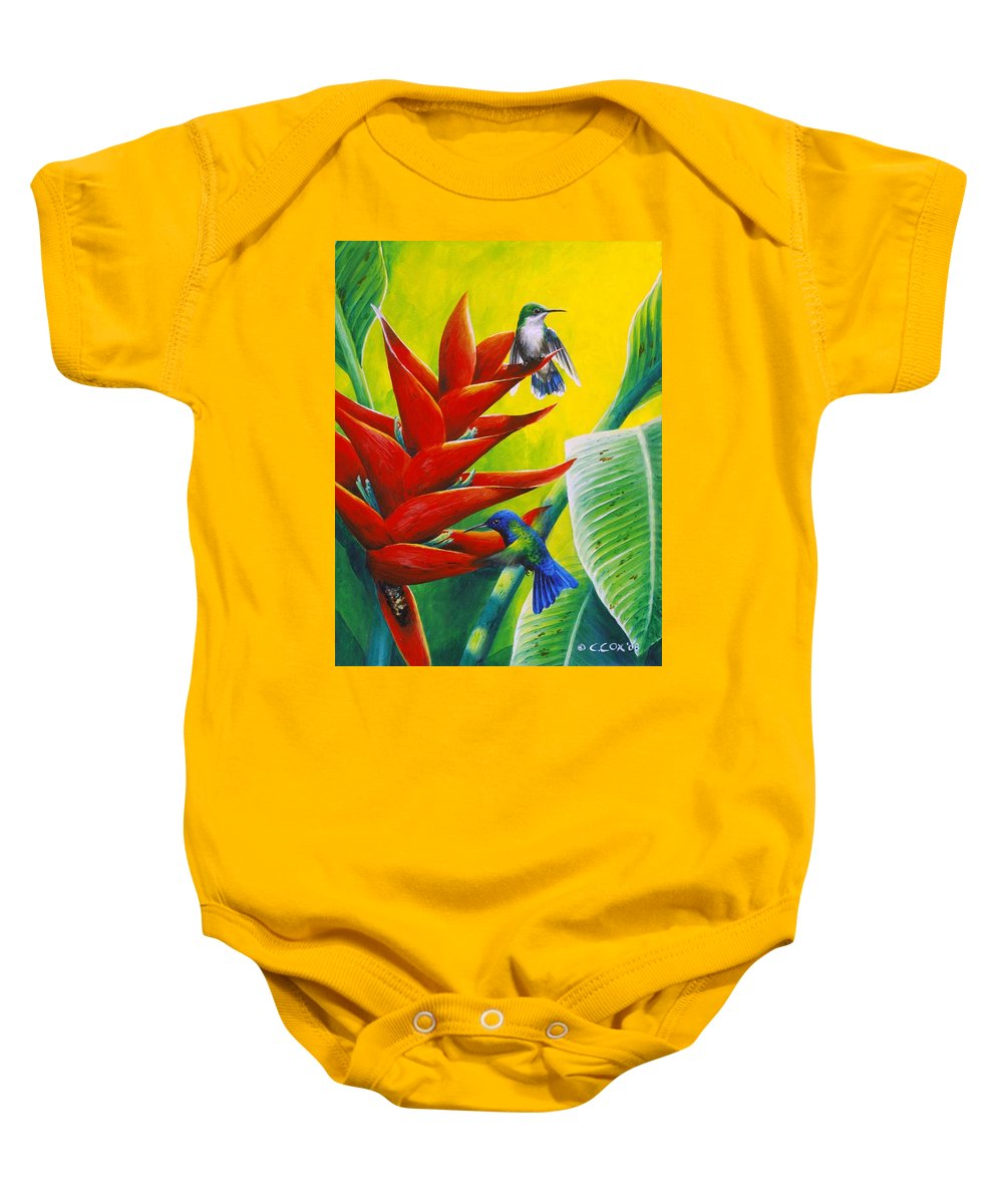 Chris Cox Baby Onesie featuring the painting Blue-headed Hummingbirds And Heliconia by Christopher Cox