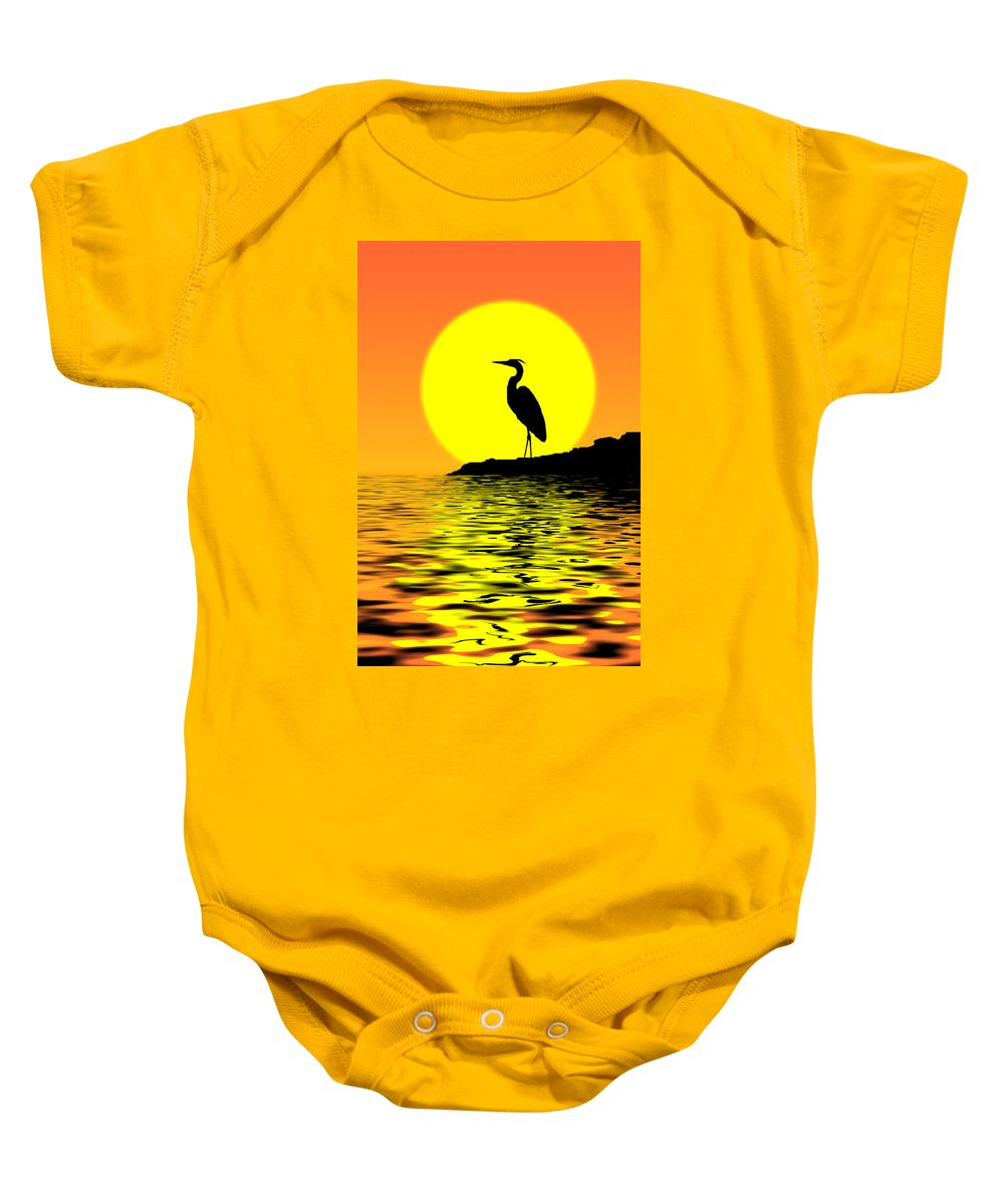 Heron Baby Onesie featuring the photograph Blue Heron Sunset by Rich Leighton