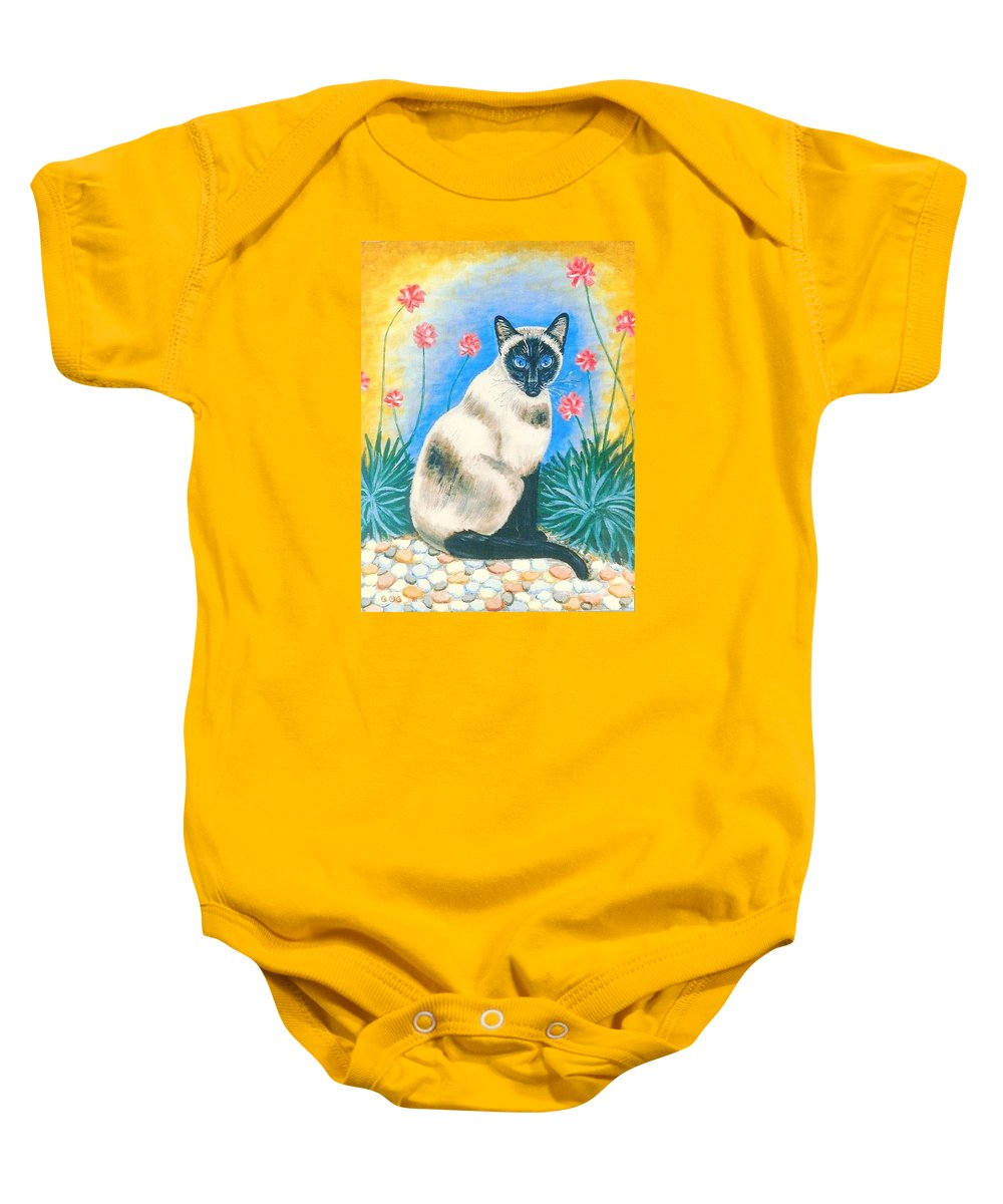 Cats Baby Onesie featuring the painting Blue Kitty by George I Perez