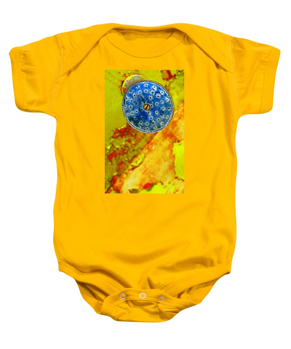 Shadow Baby Onesie featuring the photograph Blue Shower Head by Skip Hunt