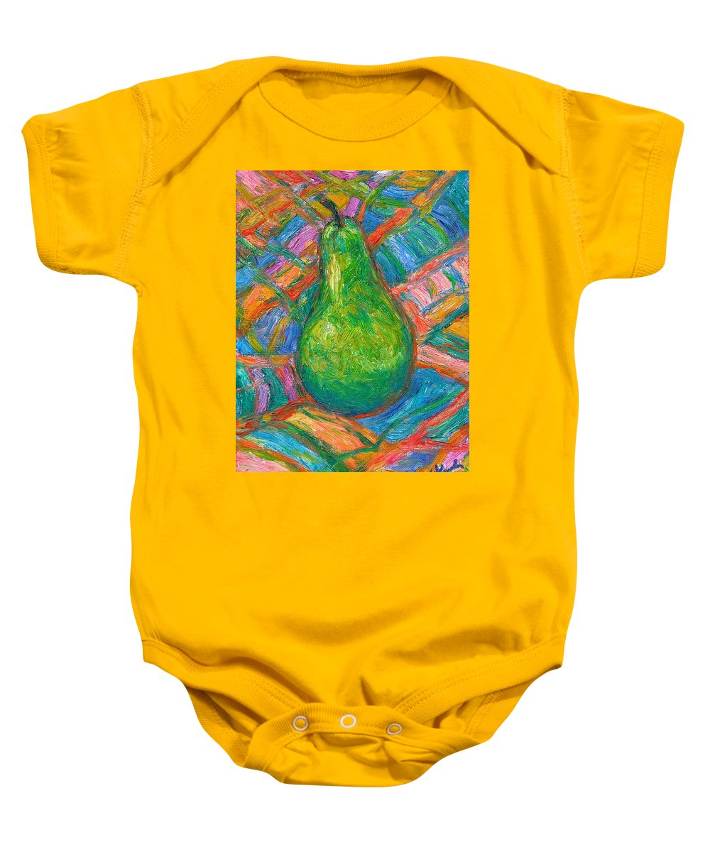 Still Life Baby Onesie featuring the painting Bosc Beauty by Kendall Kessler