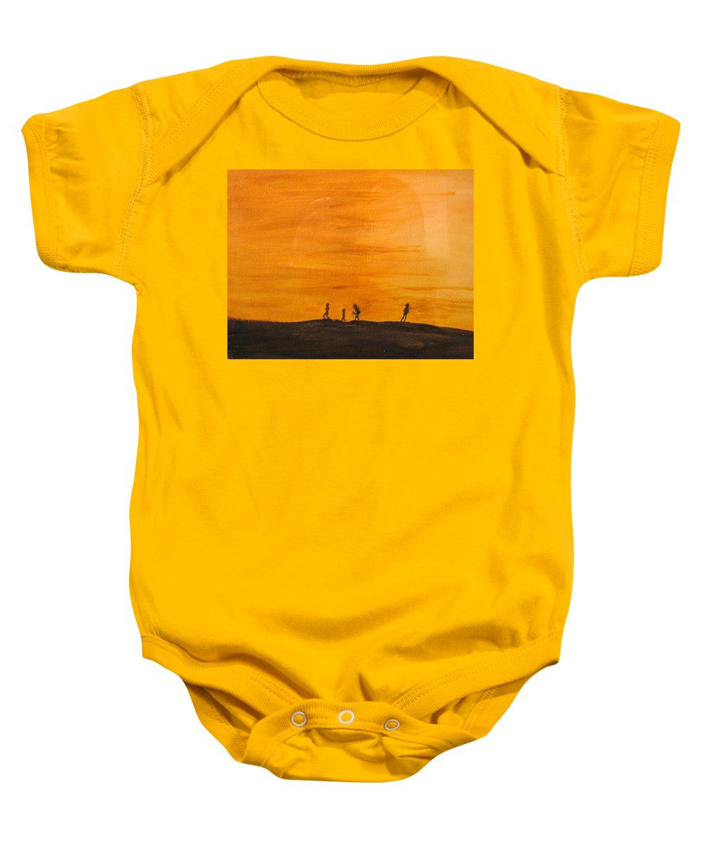 Boys Baby Onesie featuring the painting Boys At Sunset by Ian MacDonald
