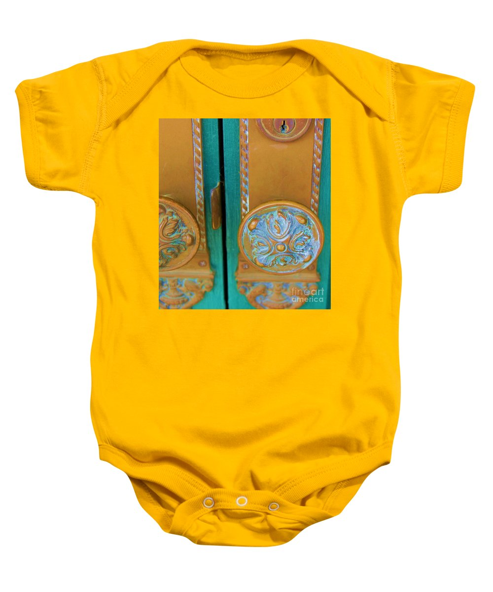 Door Baby Onesie featuring the photograph Brass Is Green by Debbi Granruth