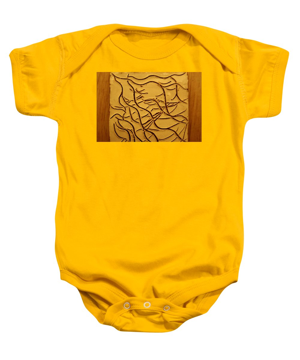 Jesus Baby Onesie featuring the ceramic art Breathe - Tile by Gloria Ssali