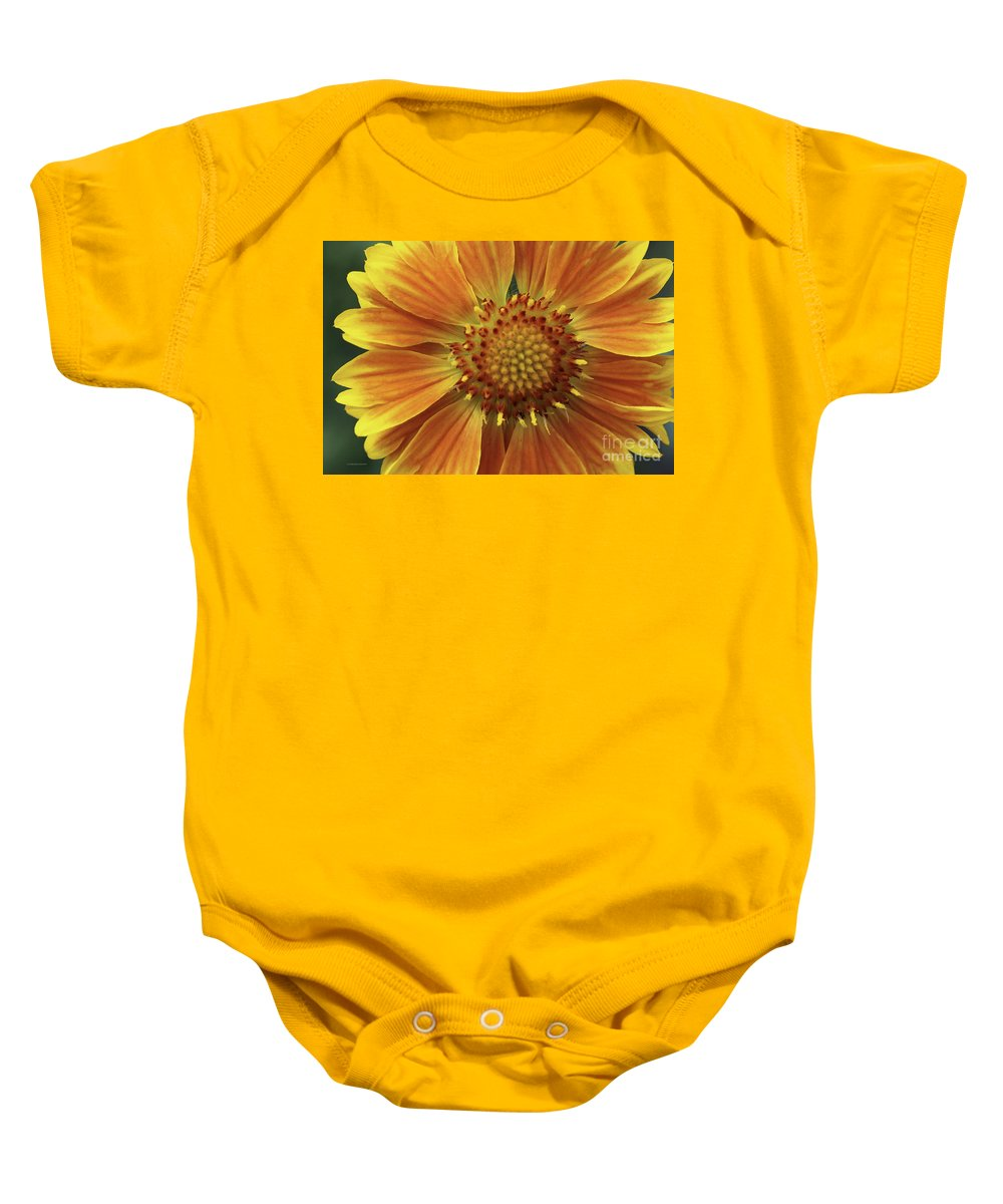 Flower Baby Onesie featuring the photograph Bright And Sasy by Deborah Benoit