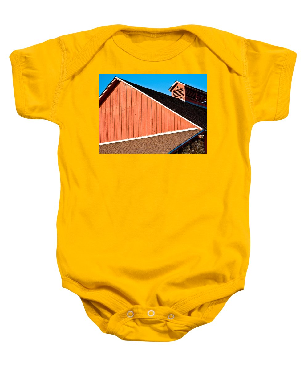 Americana Baby Onesie featuring the photograph Bright Red Barn by Marilyn Hunt