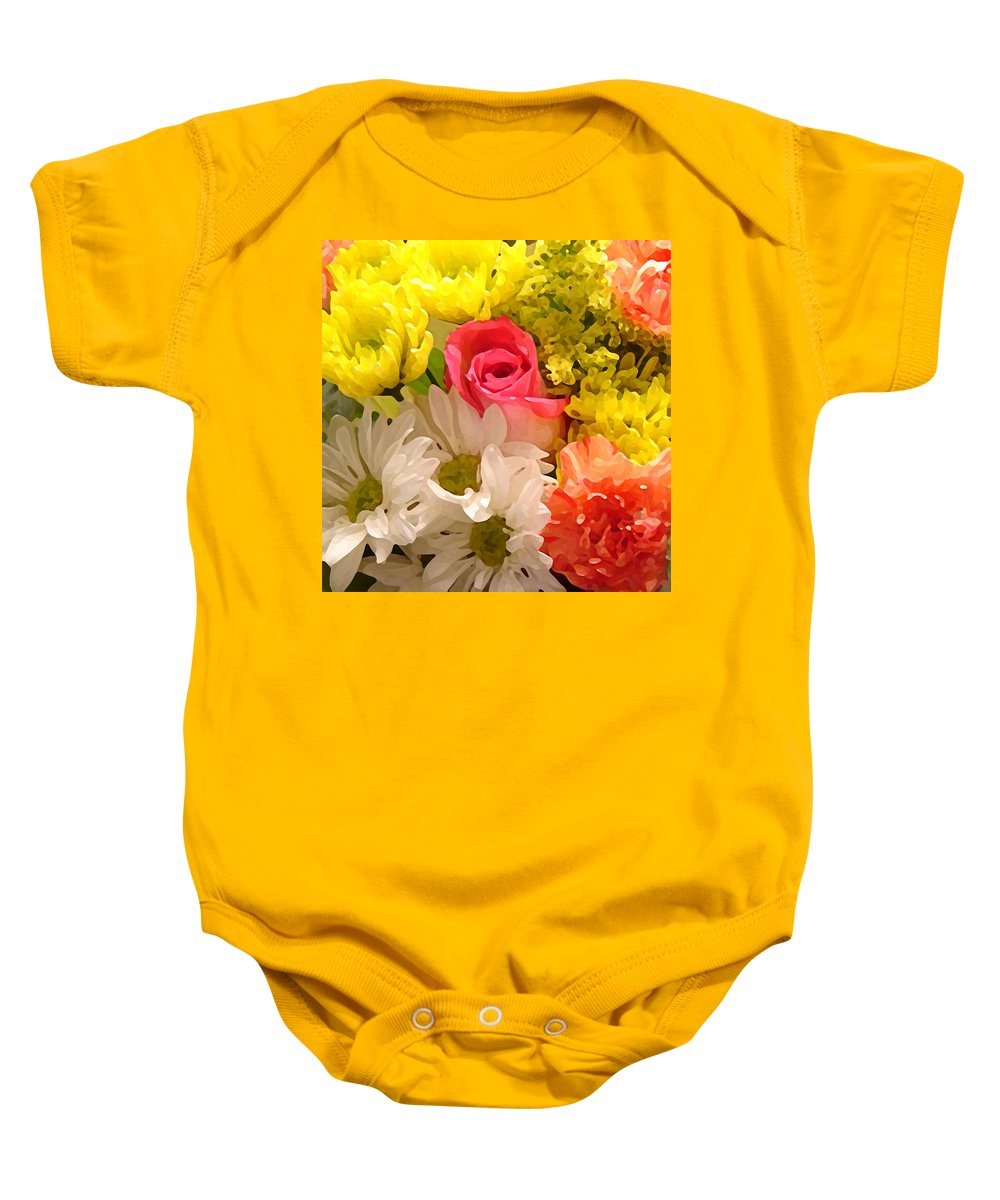 Floral Baby Onesie featuring the painting Bright Spring Flowers by Amy Vangsgard