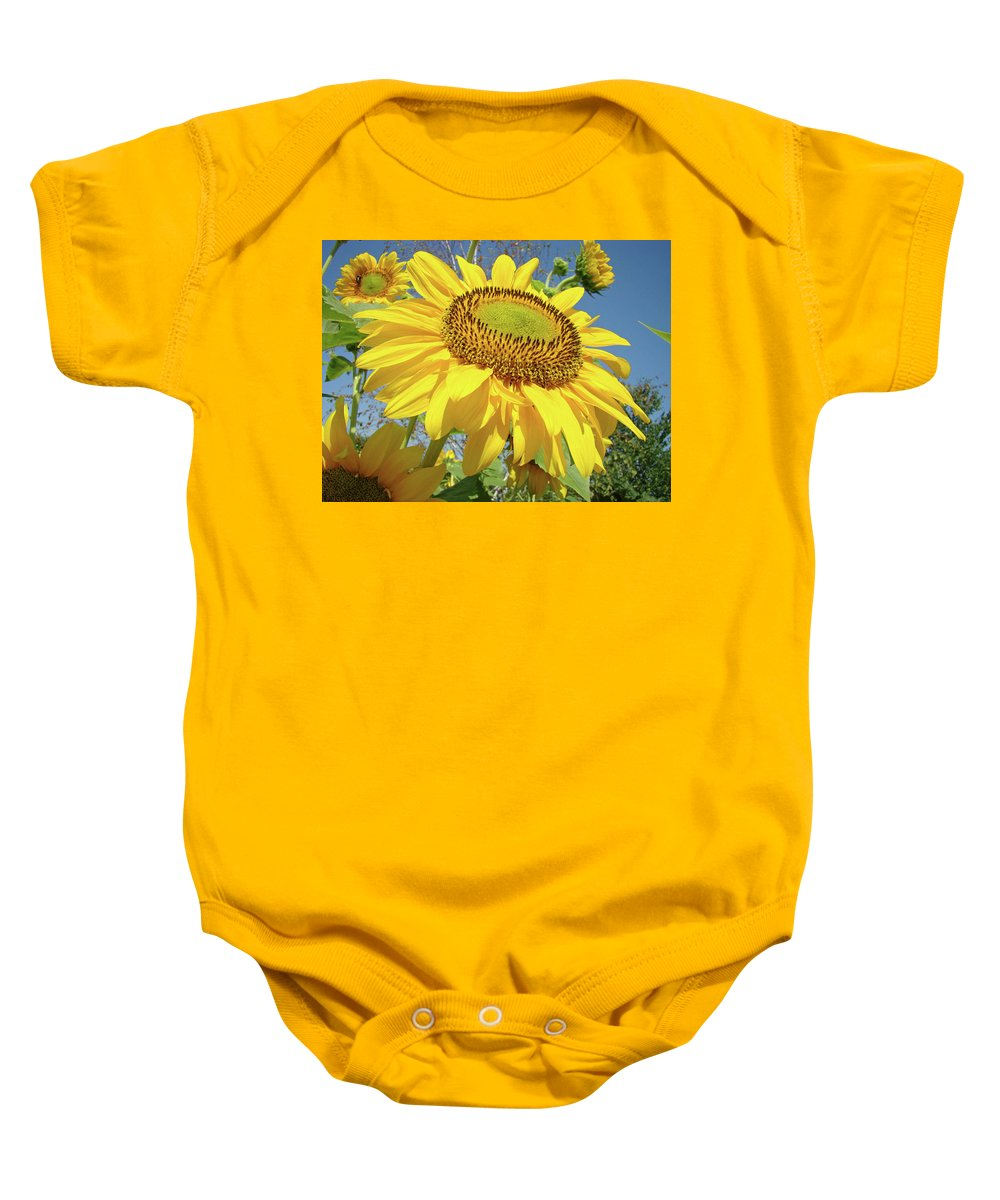 Sunflower Baby Onesie featuring the photograph Bright Sunny Happy Yellow Sunflower 10 Sun Flowers Art Prints Baslee Troutman by Baslee Troutman