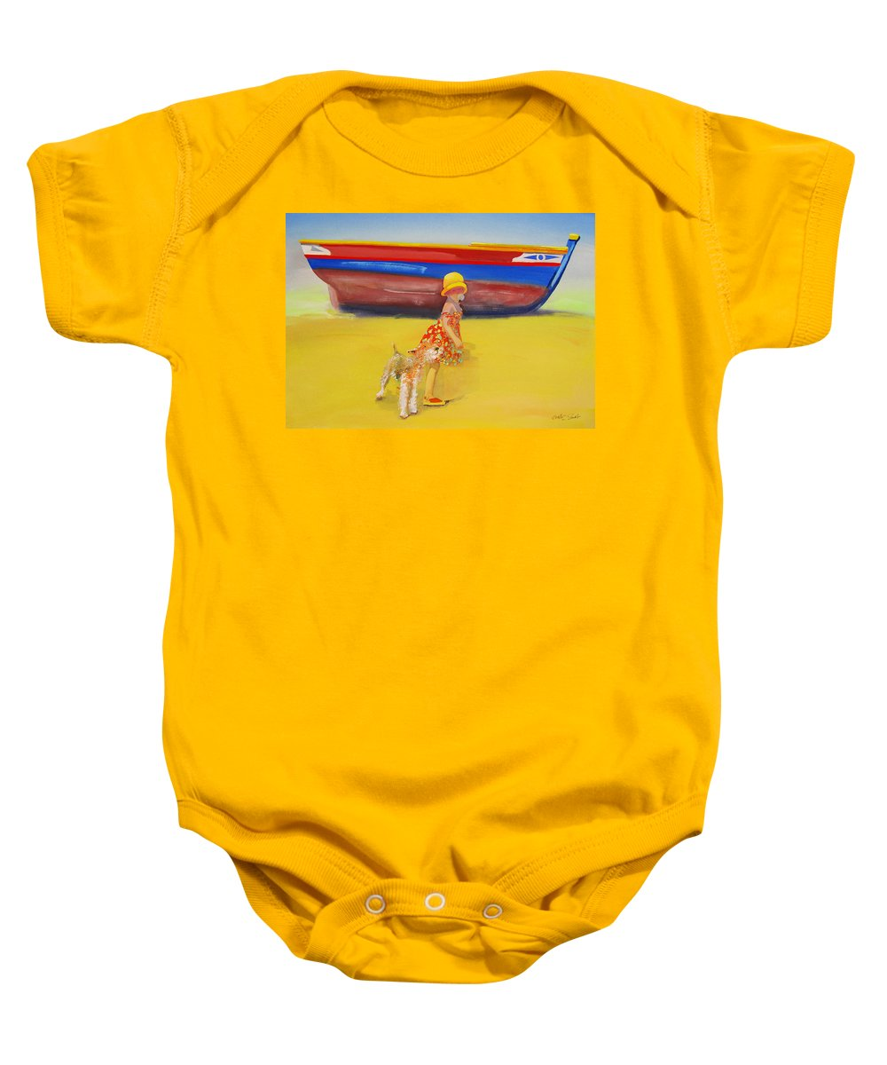 Wire Haired Fox Terrier Baby Onesie featuring the painting Brightly Painted Wooden Boats With Terrier And Friend by Charles Stuart