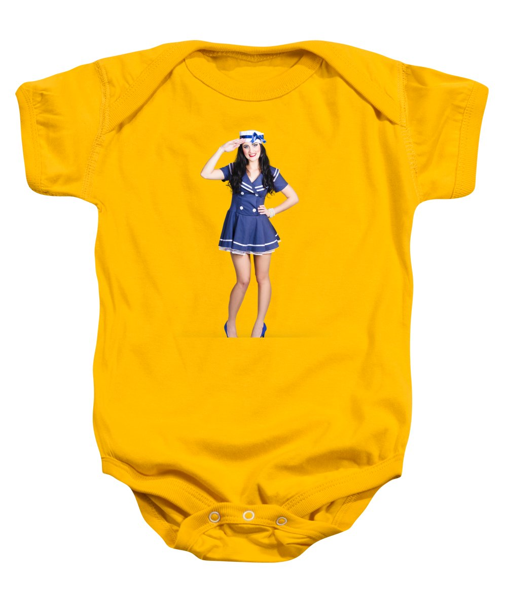 Sailor Baby Onesie featuring the photograph British Navy Blue Pin Up Girl Saluting by Jorgo Photography - Wall Art Gallery