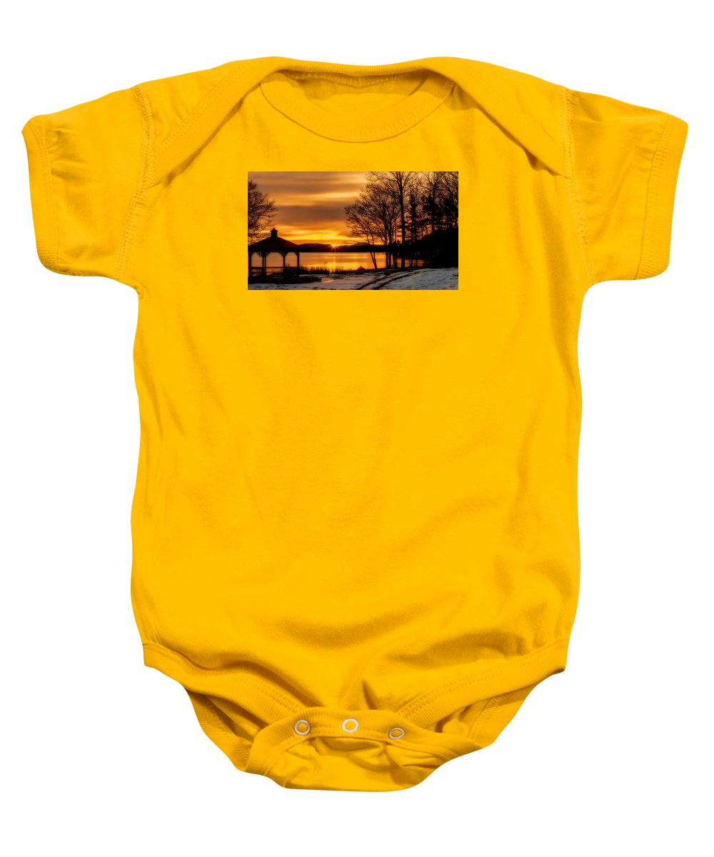 Winnipesaukee Baby Onesie featuring the photograph Bronze Winter Dawn by Stephen Anthony