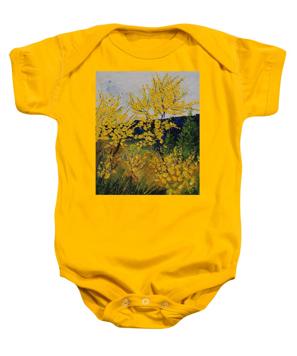 Flowers Baby Onesie featuring the painting Brooms by Pol Ledent