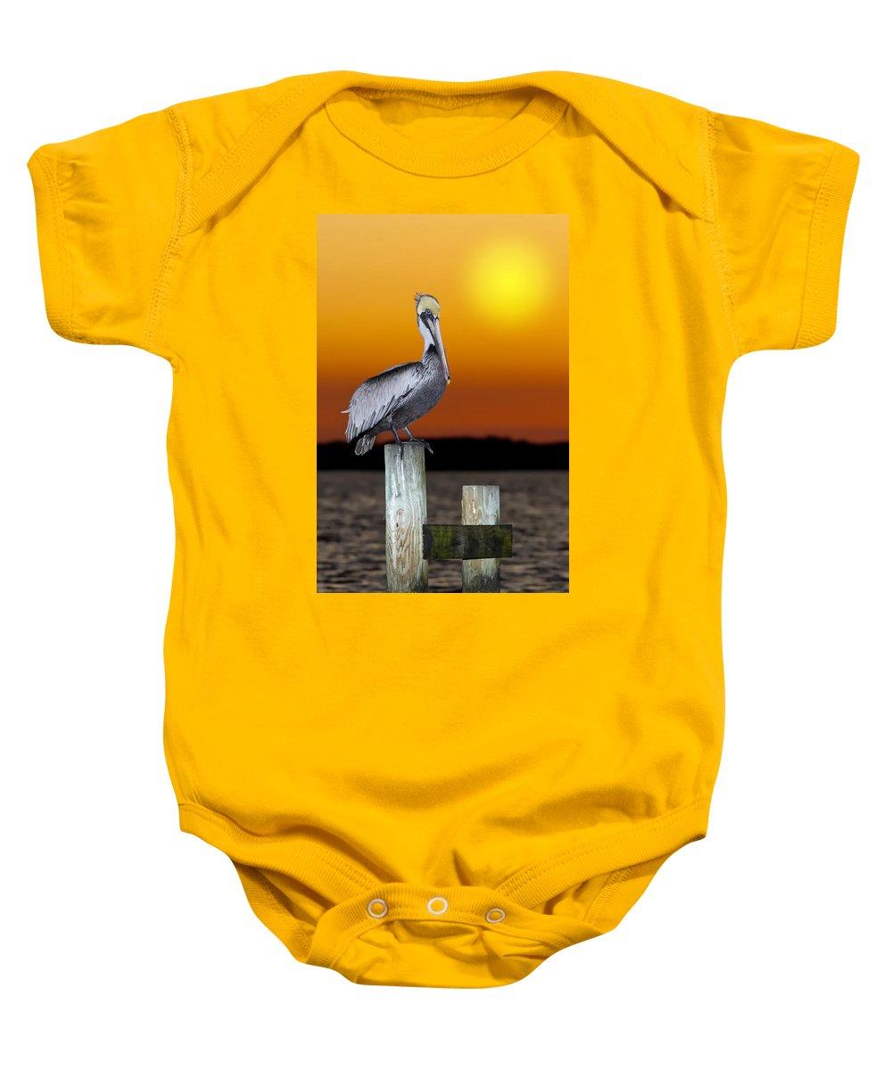Brown Pelican Baby Onesie featuring the photograph Brown Pelican by Janet Fikar