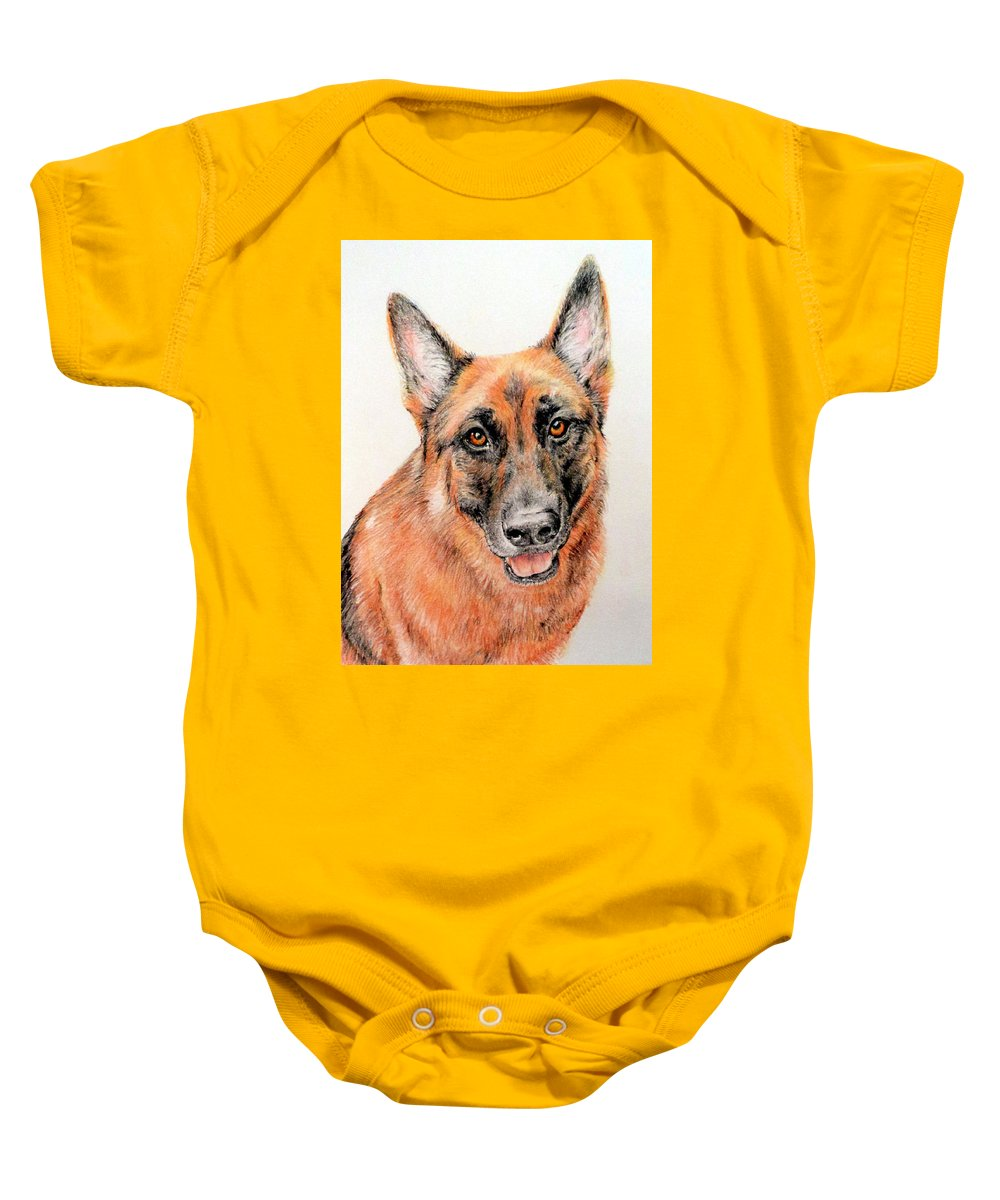 Dog Baby Onesie featuring the drawing Buddy by Becky Brooks