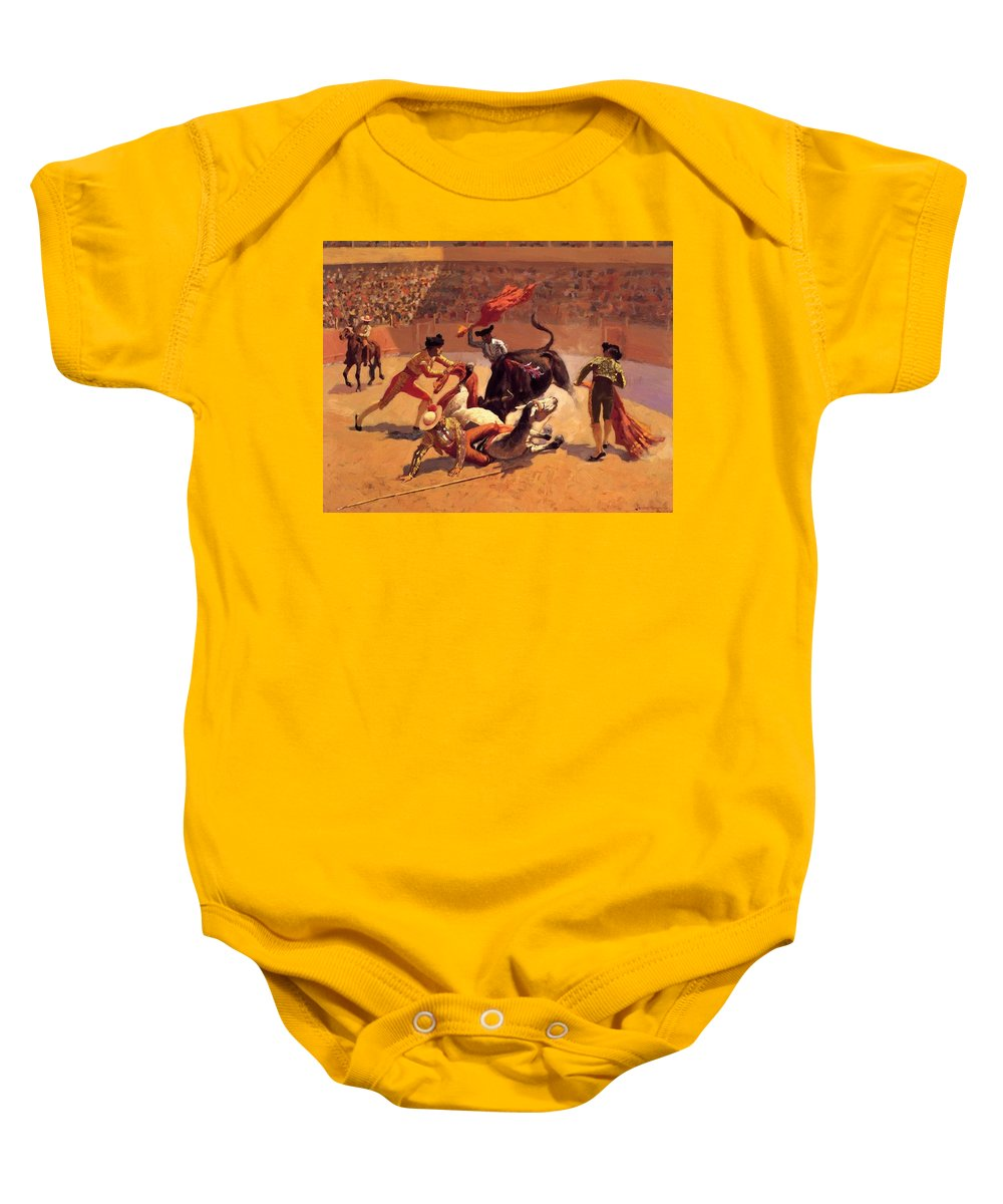 Bull Baby Onesie featuring the painting Bull Fight In Mexico 1889 by Remington Frederic