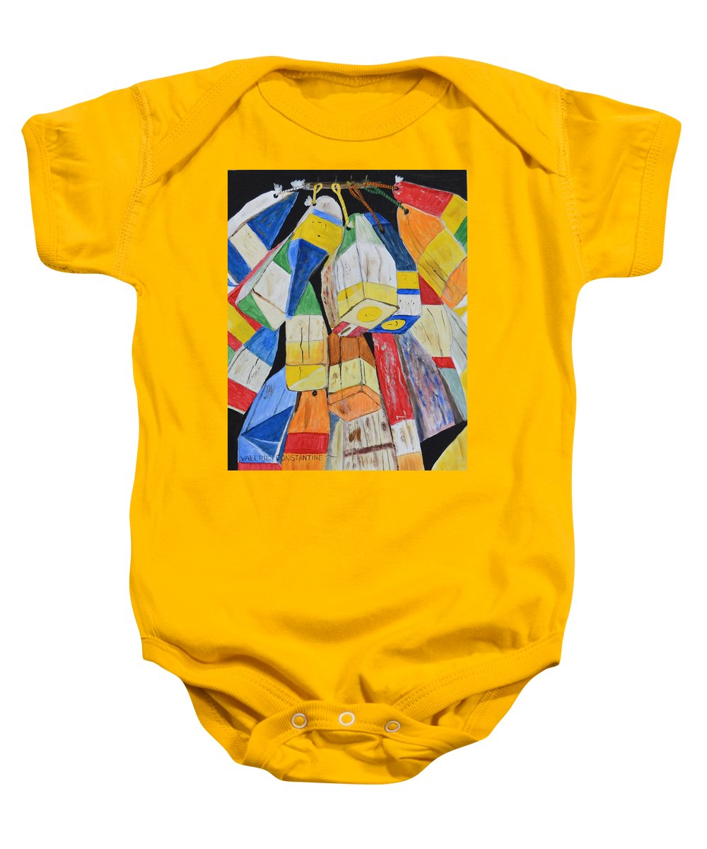 Lobster Pot Buoys Baby Onesie featuring the painting Buoys by Valerie Constantine