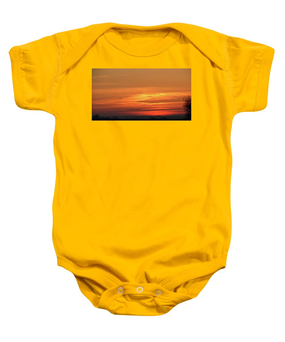 Sky Baby Onesie featuring the painting Burning Sunset by Dawn Blair