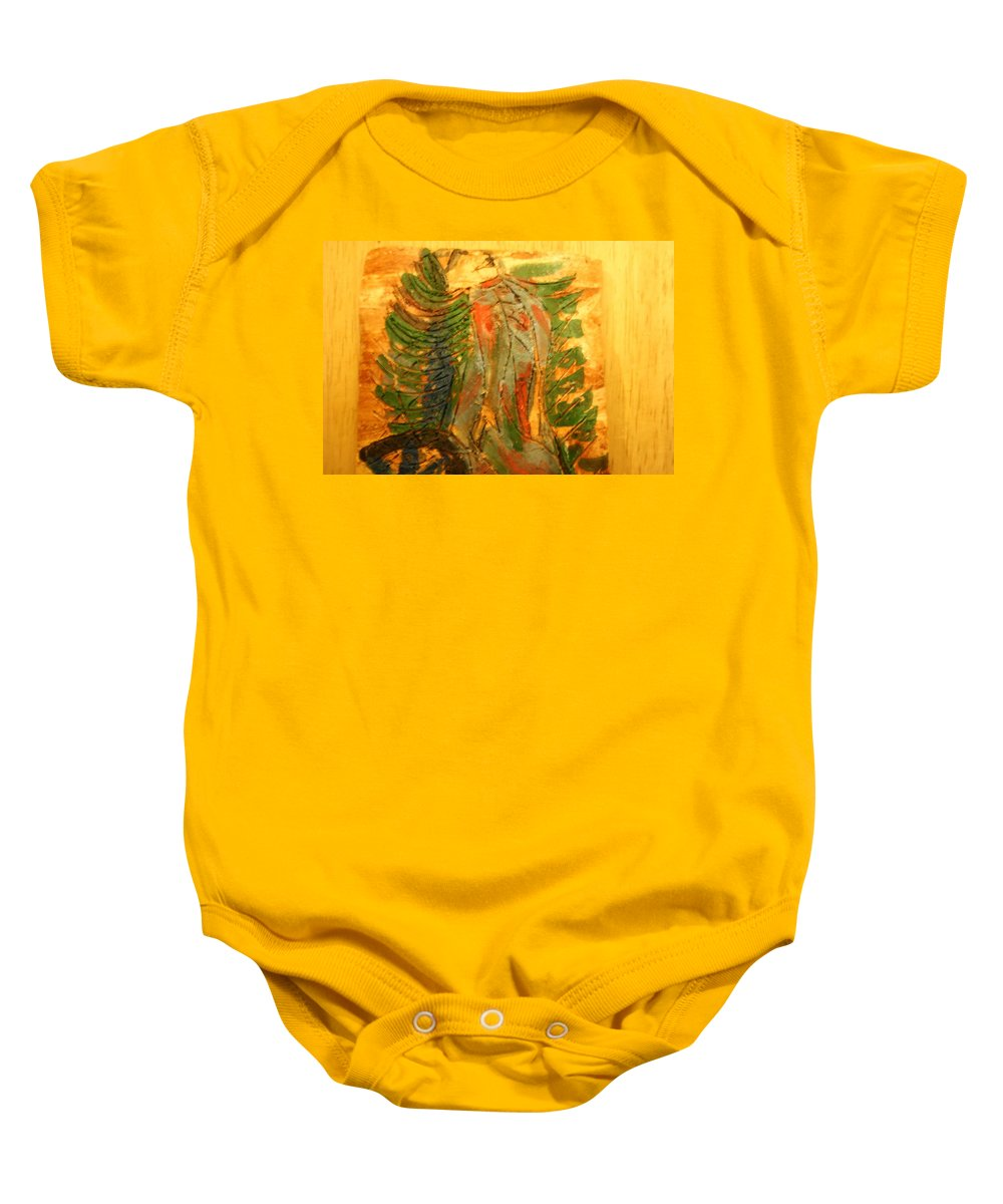 Jesus Baby Onesie featuring the ceramic art Butterfly - Tile by Gloria Ssali