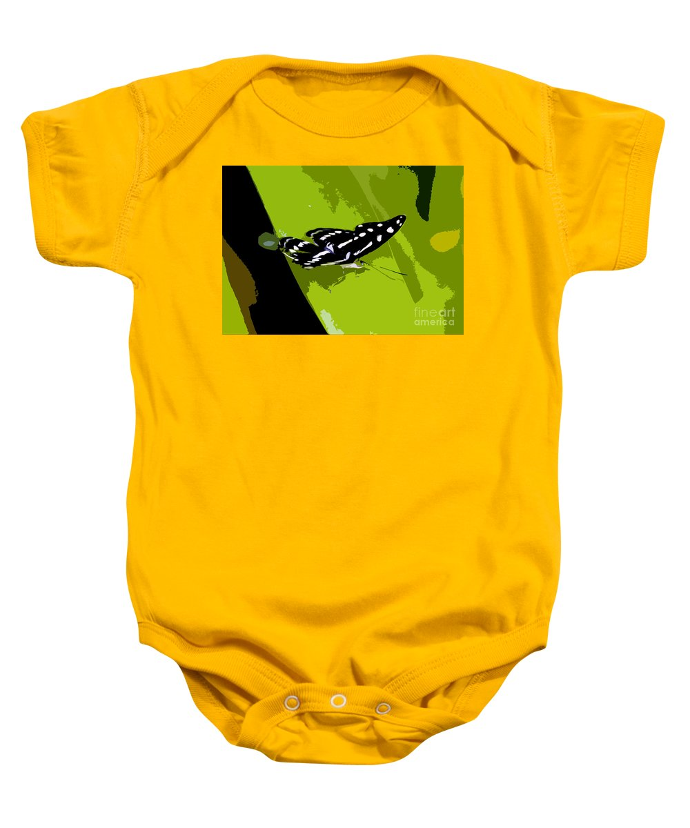 Butterfly Baby Onesie featuring the photograph Butterfly On Green by David Lee Thompson