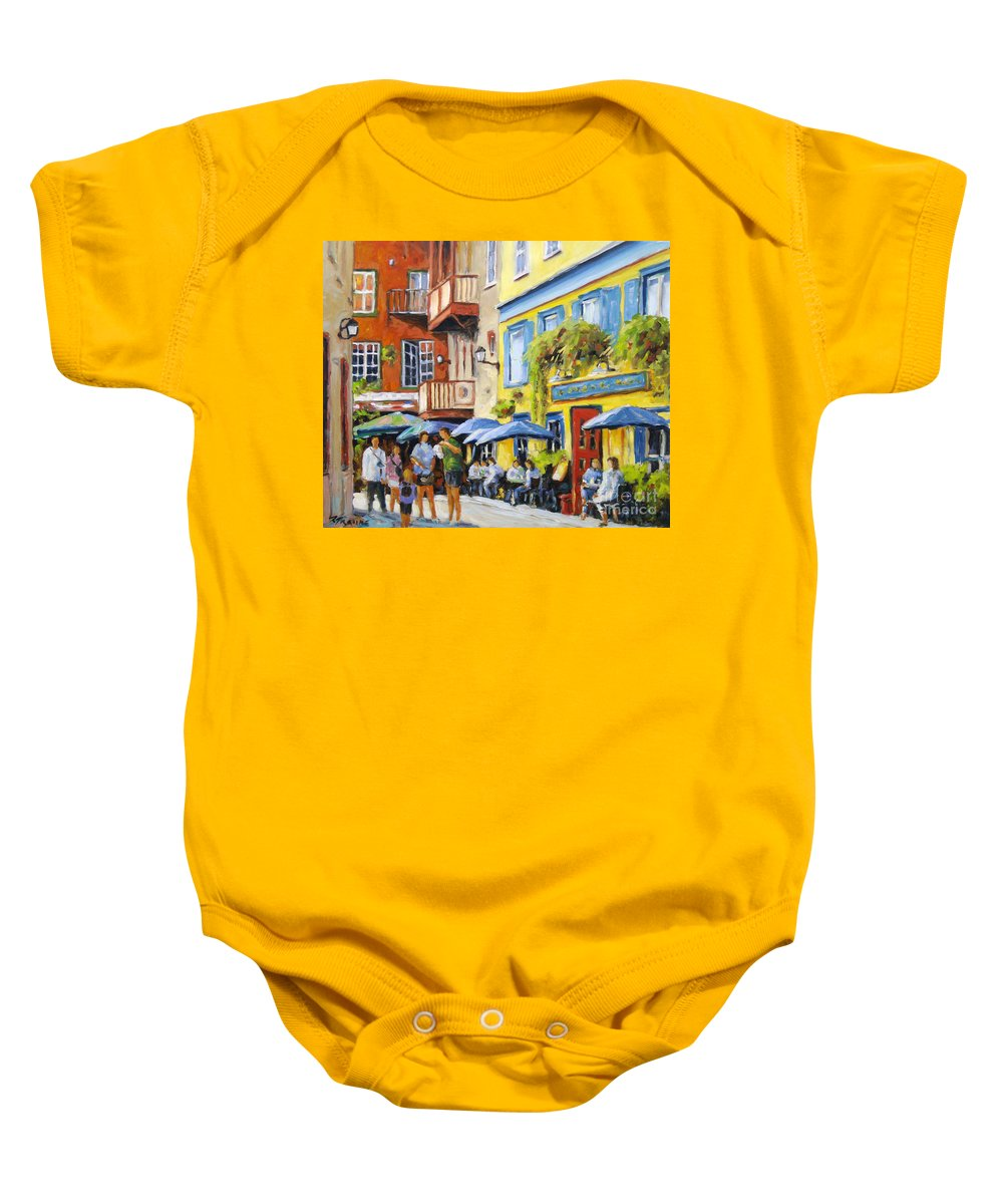 Balcony Baby Onesie featuring the painting Cafe In The Old Quebec by Richard T Pranke