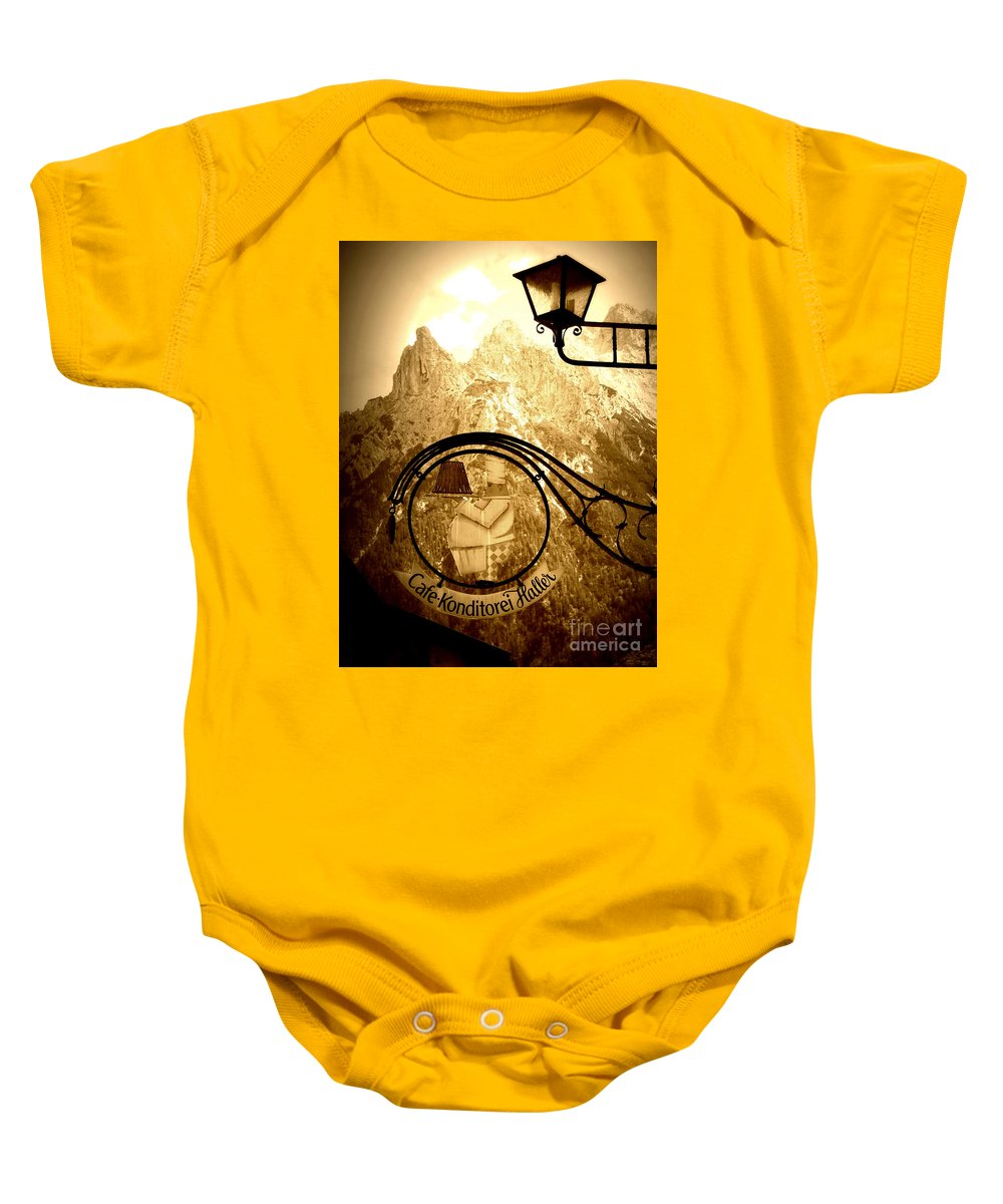 Cafe Sign Baby Onesie featuring the photograph Cafe Sign In Bavarian Alps by Carol Groenen