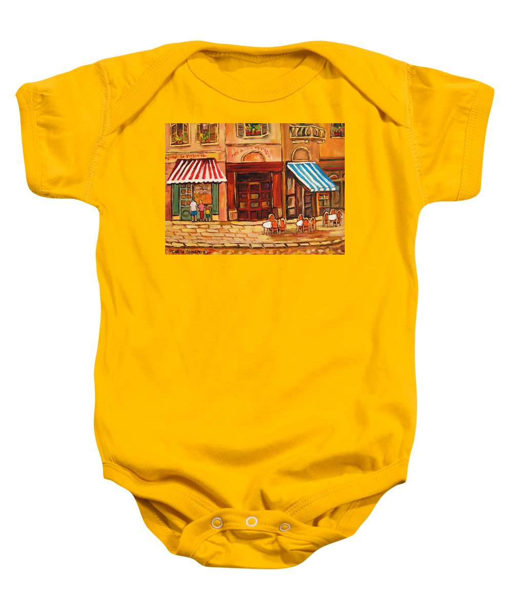 Cafe Vieux Montreal Street Scenes Baby Onesie featuring the painting Cafe Vieux Montreal by Carole Spandau