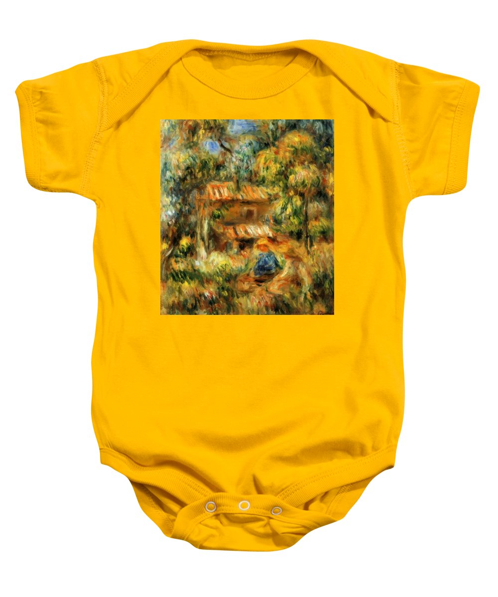 Cagnes Baby Onesie featuring the painting Cagnes Landscape 1 by Renoir PierreAuguste