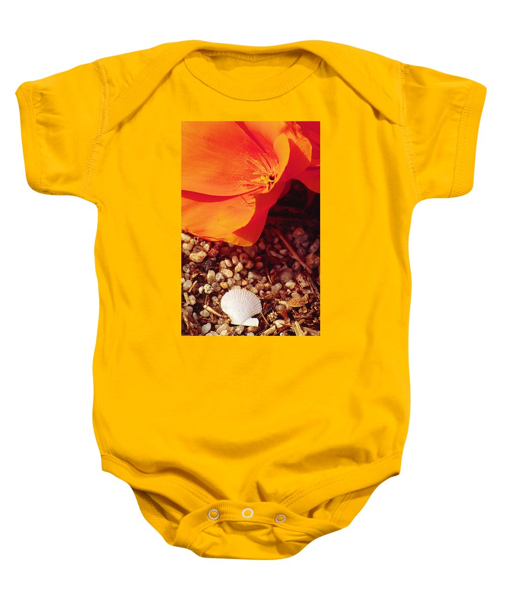 Poppy Baby Onesie featuring the photograph California Poppy And Scallop Shell by Karen Ulvestad