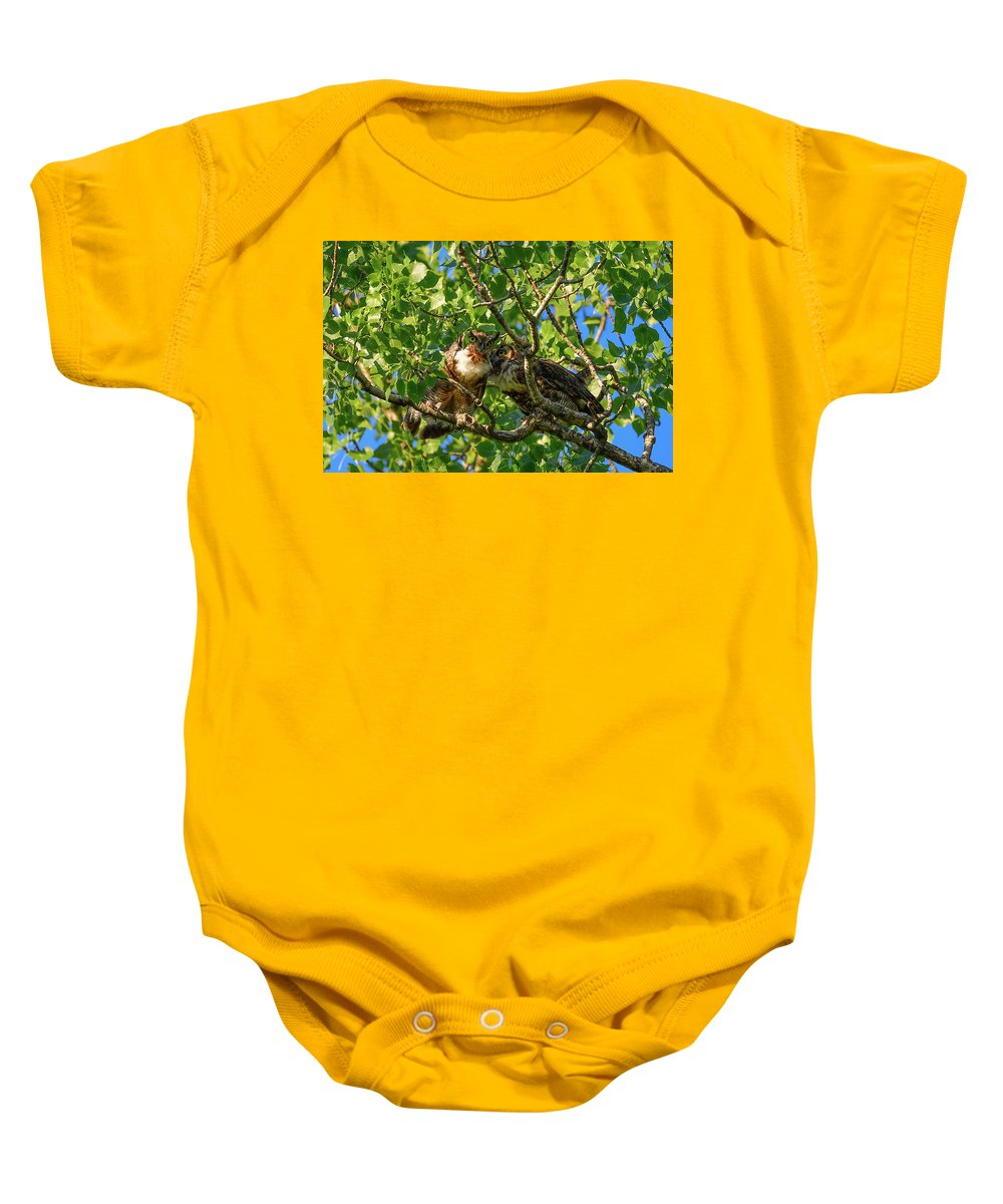 Great Horned Owls Baby Onesie featuring the photograph Can You Hear Me by Robert Smice